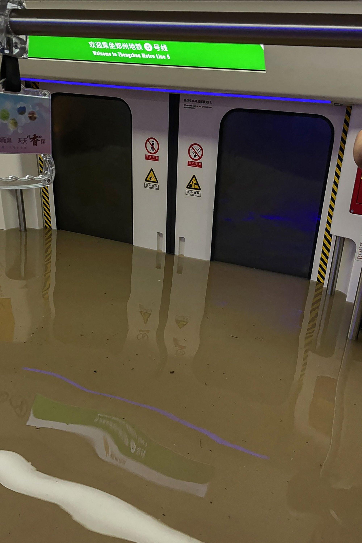 A photo by a social media user shows a submerged subway car following heavy rains in Zhengzhou, China, July 20, 2021. (AFP Photo / Courtesy of Weibo user merakiZz)