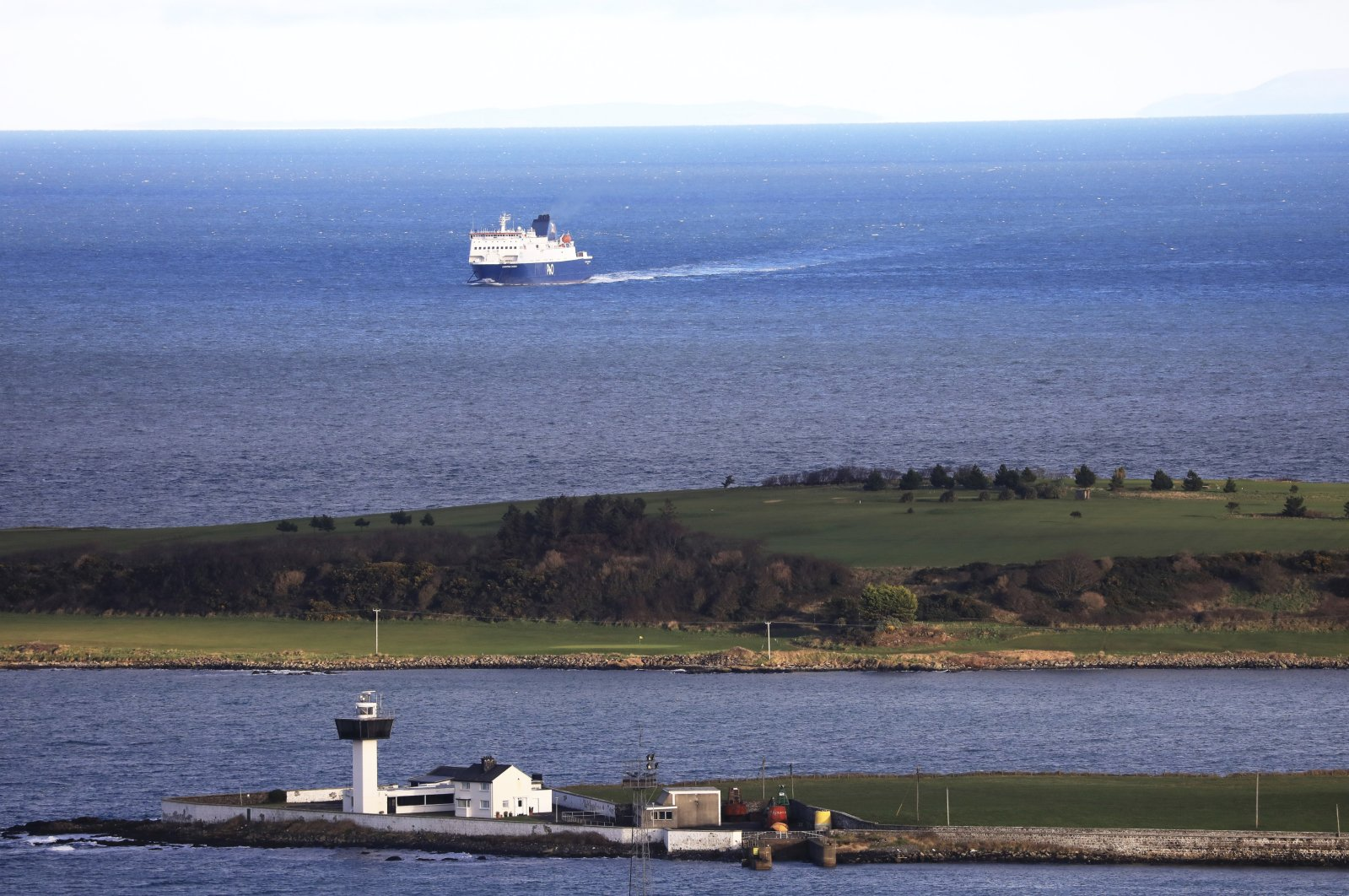 A ferry from Scotland crosses the Irish Sea towards the port at Larne on the north coast of Northern Ireland, Jan. 1, 2021. (AP Photo)