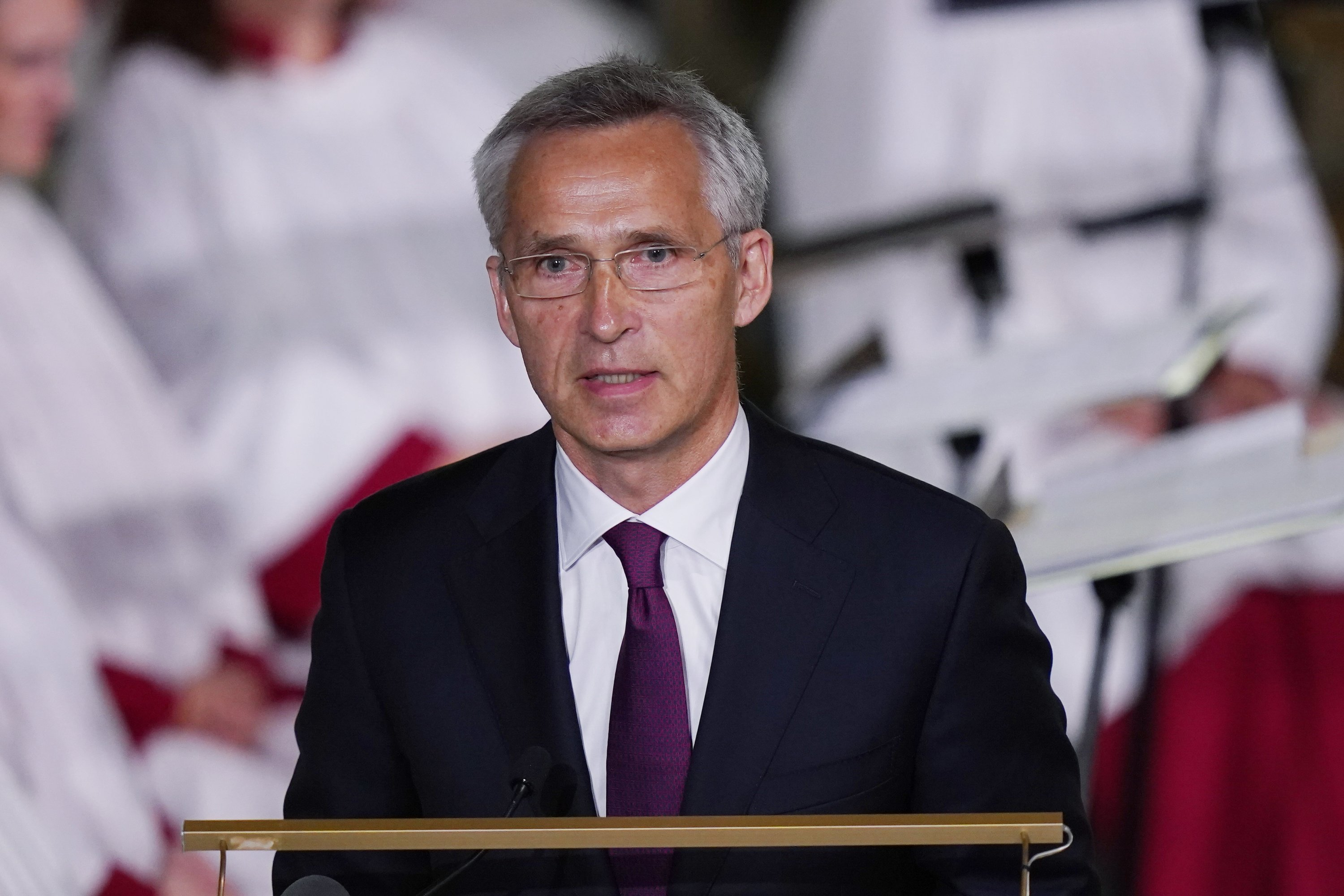 NATO Secretary General Jens Stoltenberg gives a speech in the Oslo Cathedral during a memorial service for the victims of the 2011 terrorist attacks, in Oslo, Norway, on July 22, 2021. (EPA Photo)