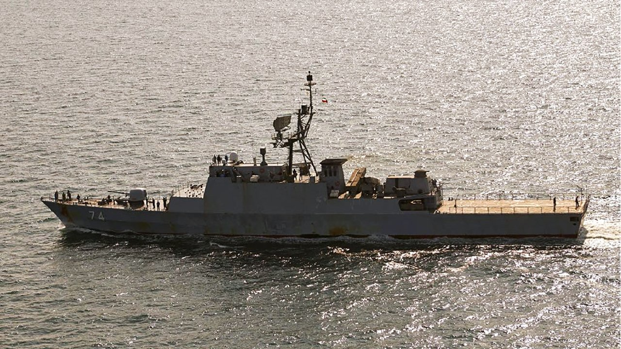 In this handout photo from the Royal Danish Air Force, the Iranian navy destroyer Sahand is seen sailing through the Baltic Sea off the island of Bornholm, a Danish island in the Baltic Sea off the south coast of Sweden, July 22, 2021. (Royal Danish Air Force via AP)