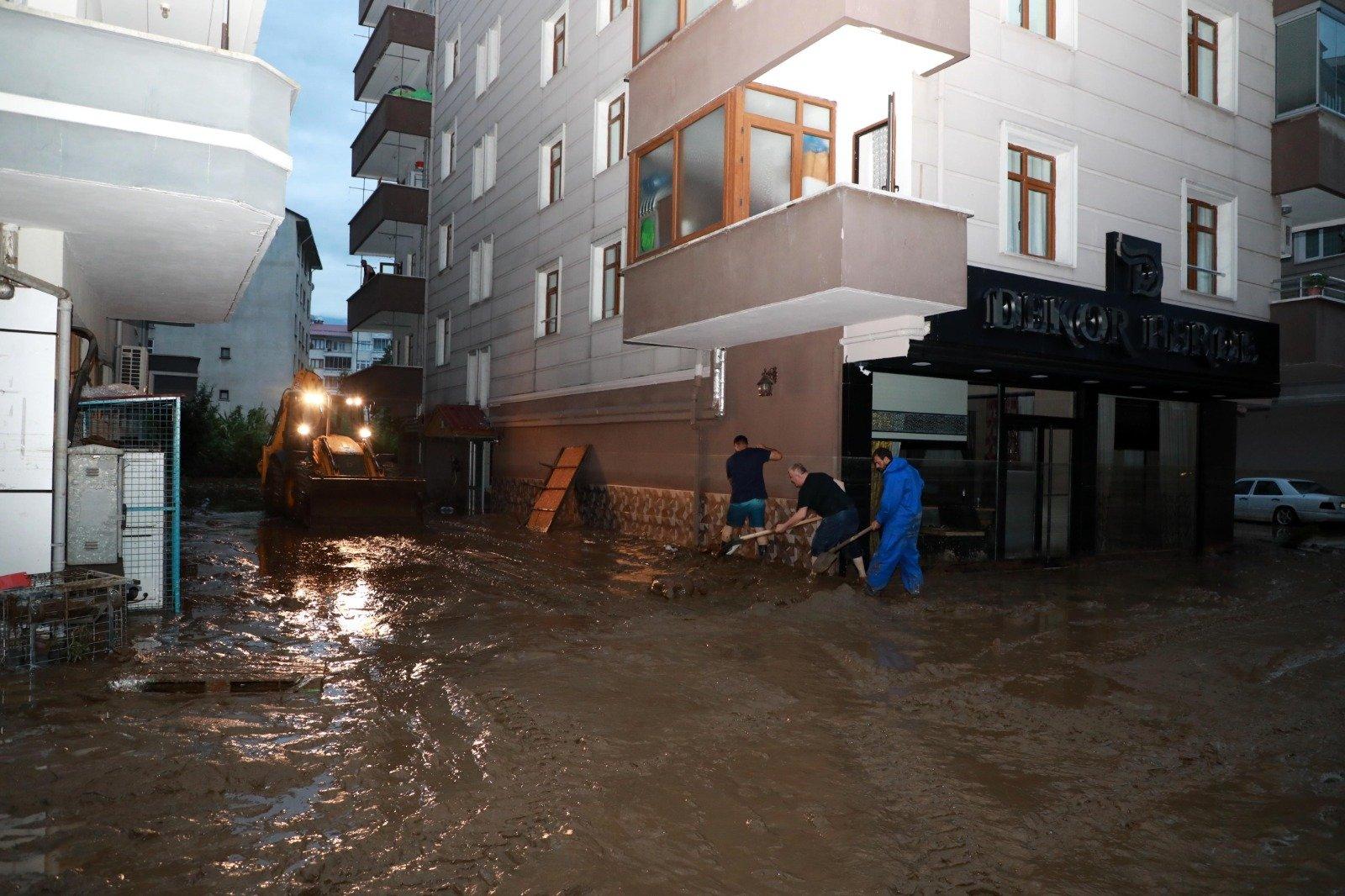 Artvin's Arhavi district is flooded due to heavy rainfall, Turkey, July 22, 2021. (AA Photo)