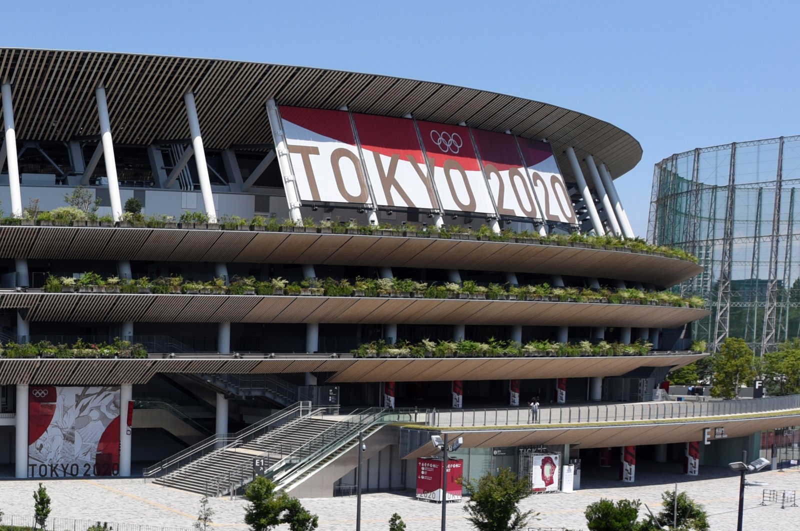 A general view of the Japan National Stadium, the main venue of the Tokyo 2020 Olympics and Paralympics, in Tokyo, Japan, July 22, 2021. (EPA Photo)