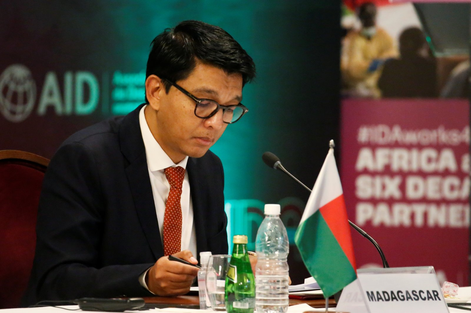 Madagascar's President Andry Rajoelina attends a meeting to discuss the 20th replenishment of the World Bank's International Development Association, in Abidjan, Ivory Coast, July 15, 2021. (Reuters Photo)
