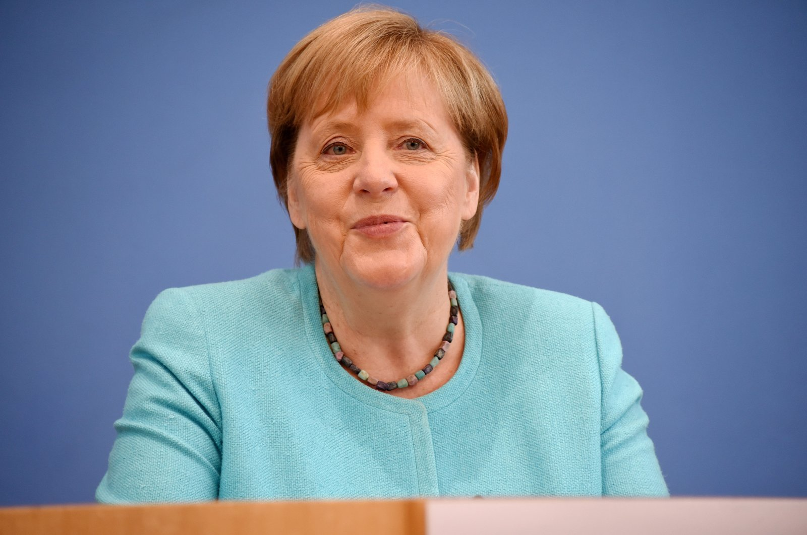German Chancellor Angela Merkel holds her annual summer press conference at the Federal Press Conference (Bundespressekonferenz) in Berlin, Germany, July 22, 2021. (EPA Photo)
