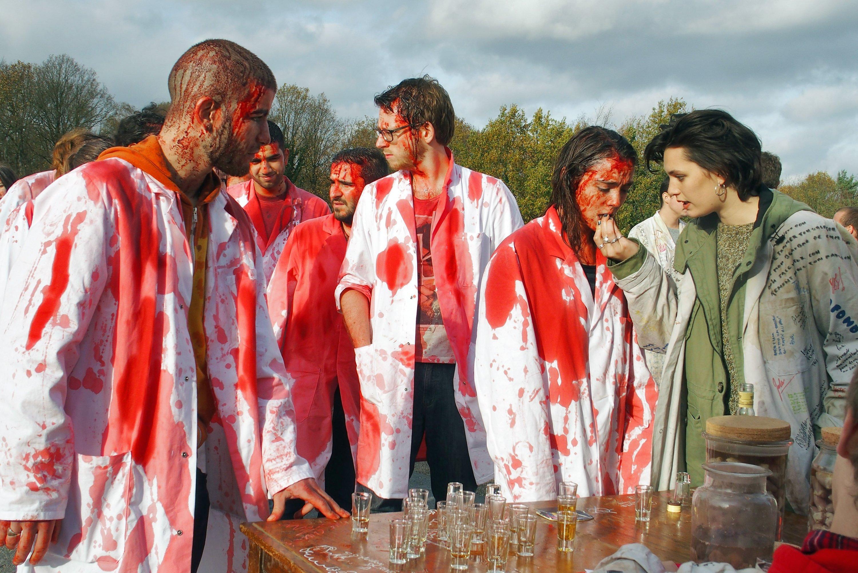 (L-R) actors Rabah Nait Oufella, Garance Marillier and Ella Rumpf in a still shot from 'Raw.'