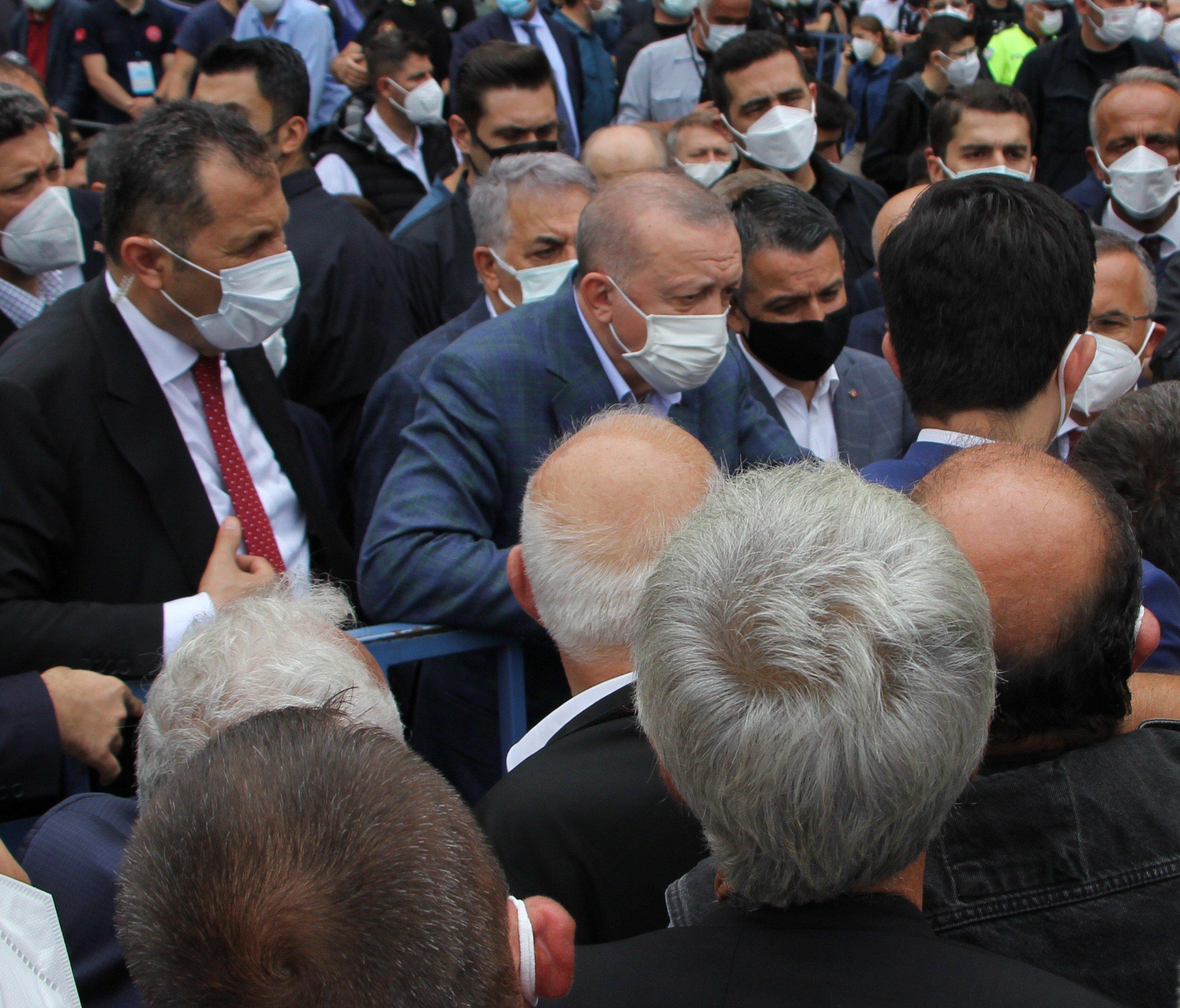 President Recep Tayyip Erdoğan speaks with locals in the Güneysu district, in Rize, northern Turkey, July 23, 2021. (İHA PHOTO)