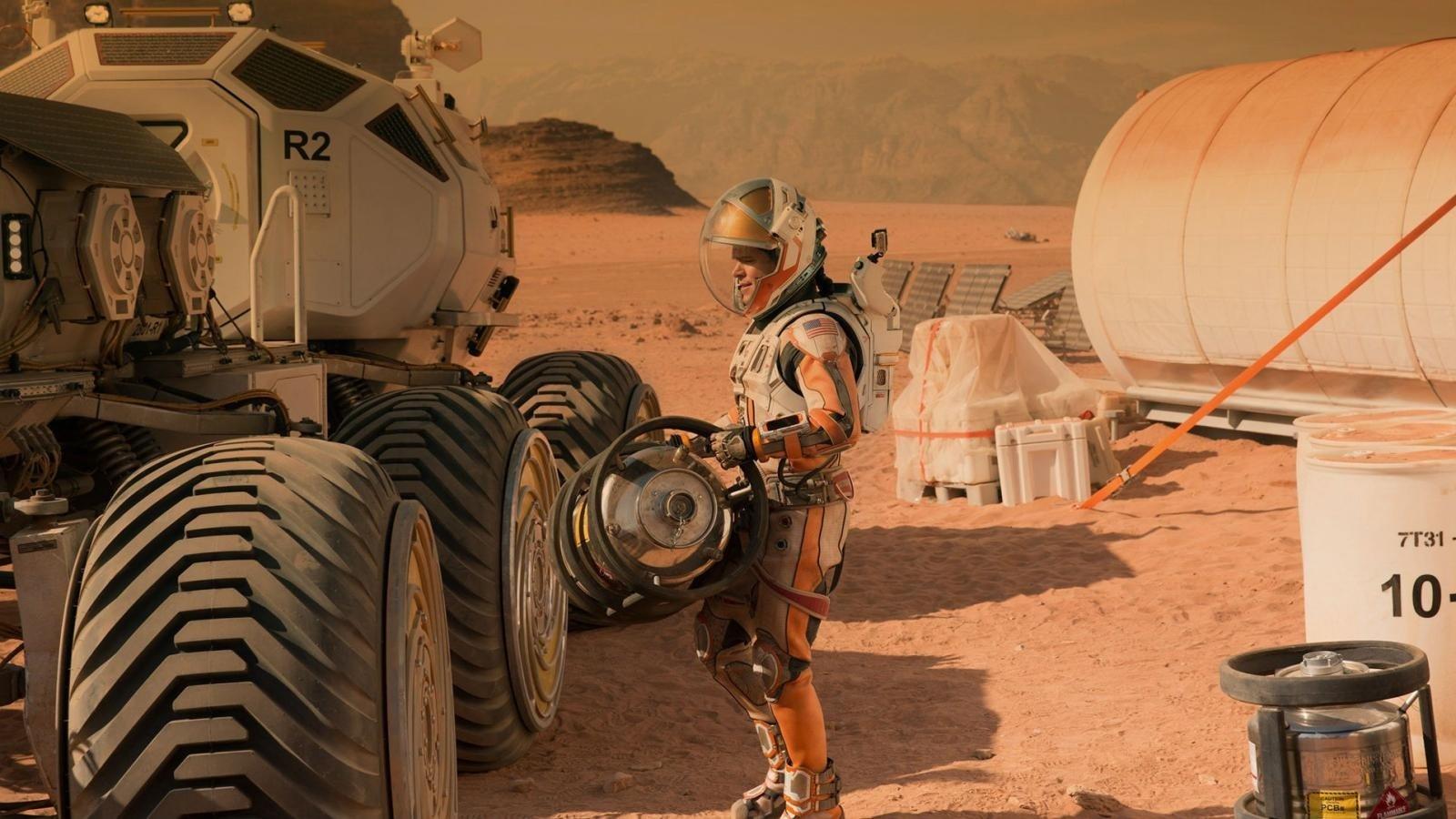 Matt Damon as NASA astronaut Mark Watney in a still shot from 'The Martian.'
