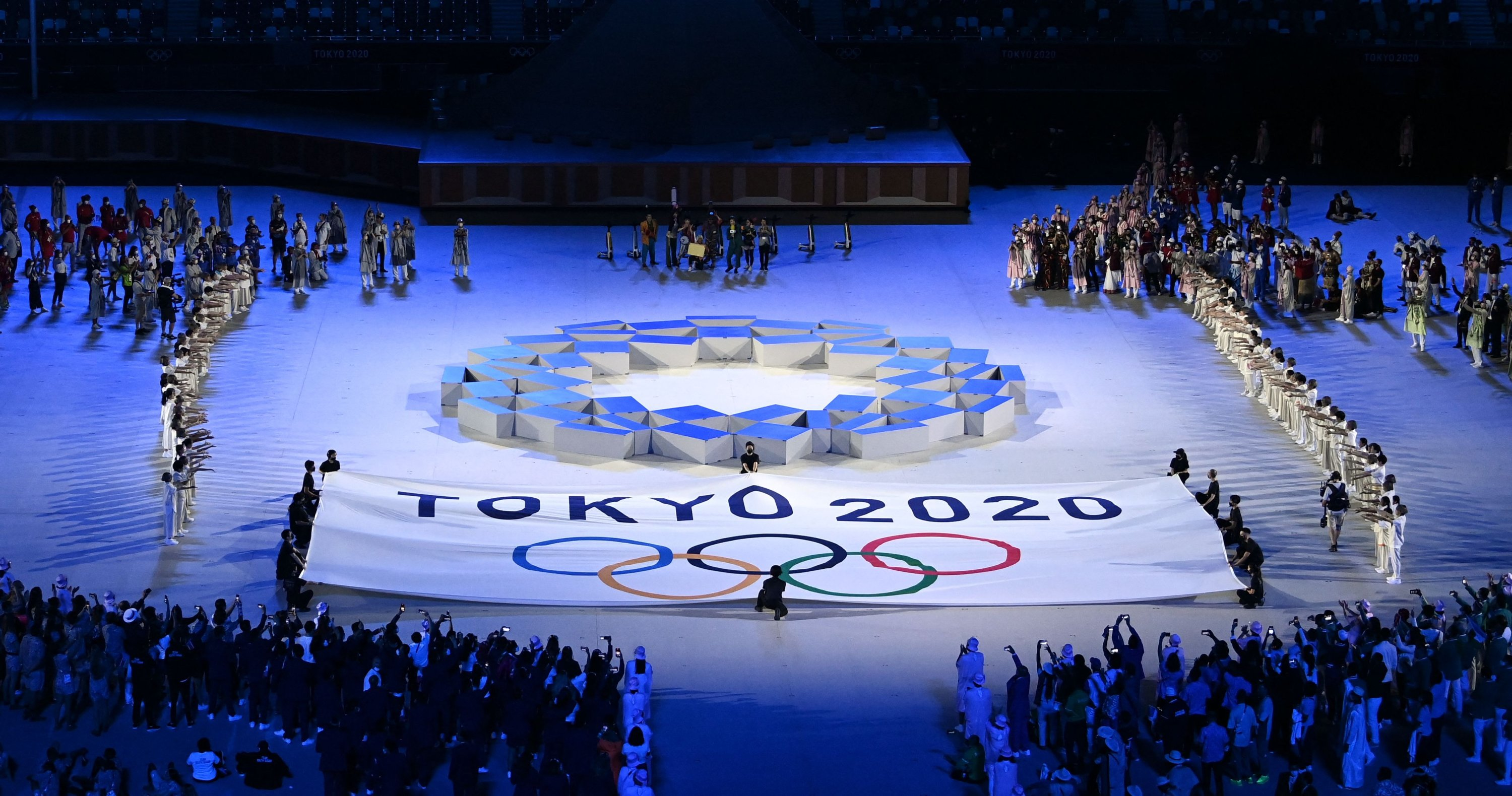 The Tokyo 2020 emblem is seen during the opening ceremony in the Olympic Stadium at the 2020 Summer Olympics, in Tokyo, Japan, July 23, 2021. (AFP Photo)