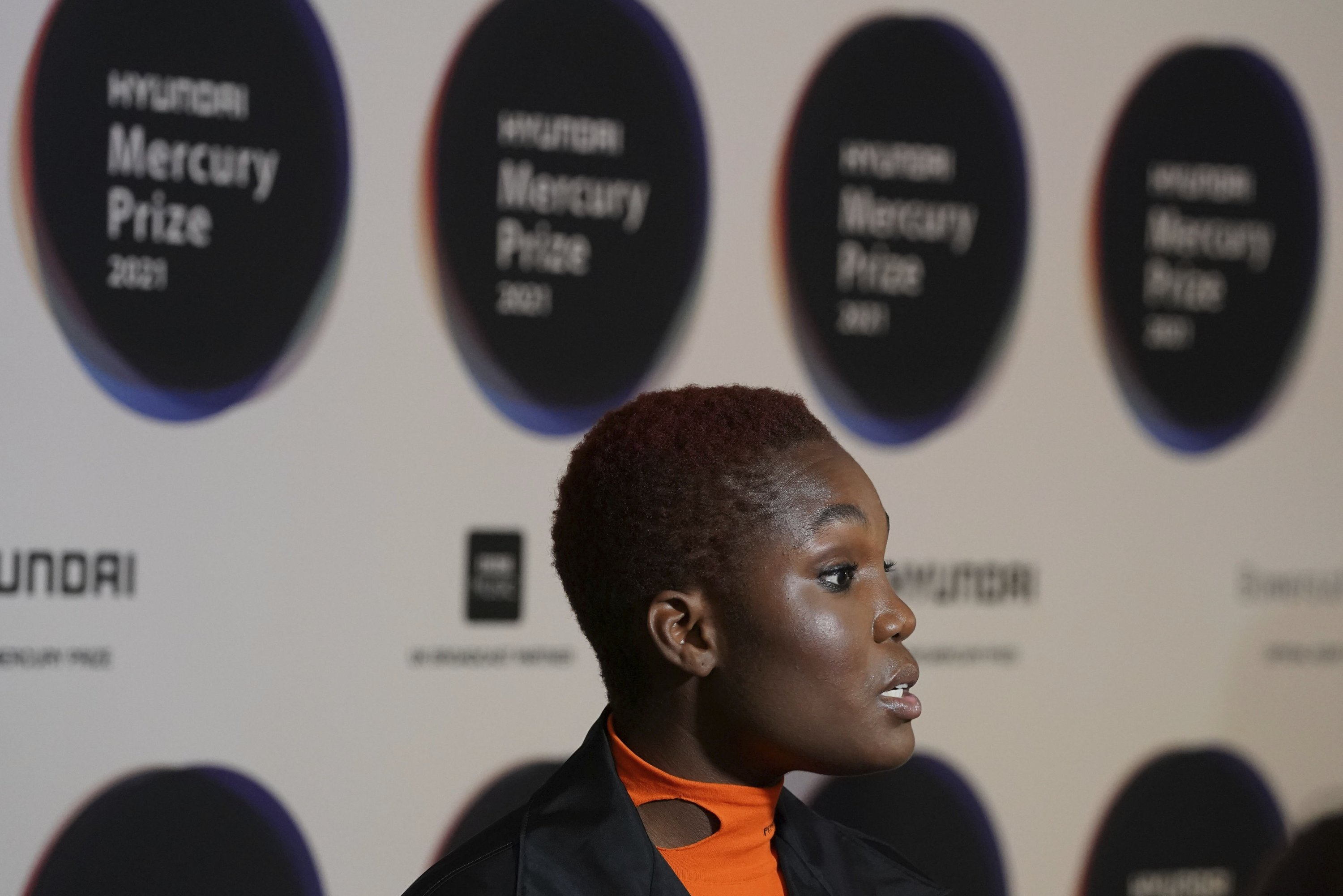 British artist Arlo Parks speaks, during the announcement of the shortlist of nominations for the Mercury Prize Albums of the Year, at the Langham Hotel in London, U.K., July 22, 2021. (AP Photo)
