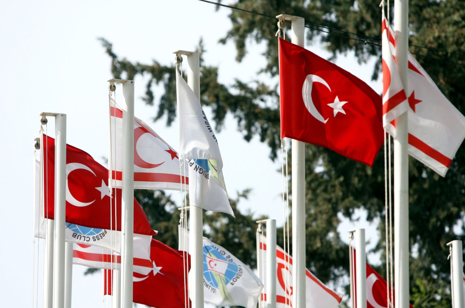 Turkish flags fly close to the border with Greek Cyprus at the Ledra Palace checkpoint in Lefkoşa (Nicosia), Turkish Cyprus, Feb. 23, 2008. (Getty Images Photo)