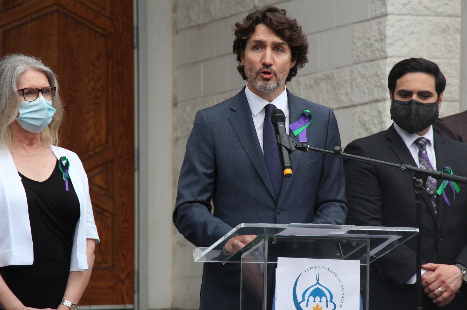 Canadian Prime Minister Justin Trudeau speaks during the memorial ceremony organized for members of the Muslim family killed in an Islamophobic attack, London, Ontario, Canada, June 10, 2021. (AA Photo)