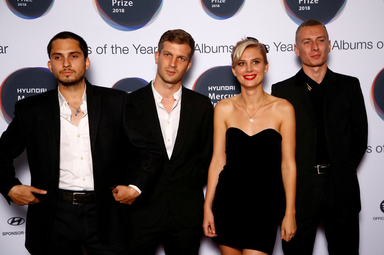 """Musicians from Wolf Alice, whose album """"Visions of a Life"""" had been nominated for the Mercury Prize 2018, pose for a photograph ahead of the ceremony at the Hammersmith Apollo in London, U.K., September 20, 2018. (REUTERS Photo)"""