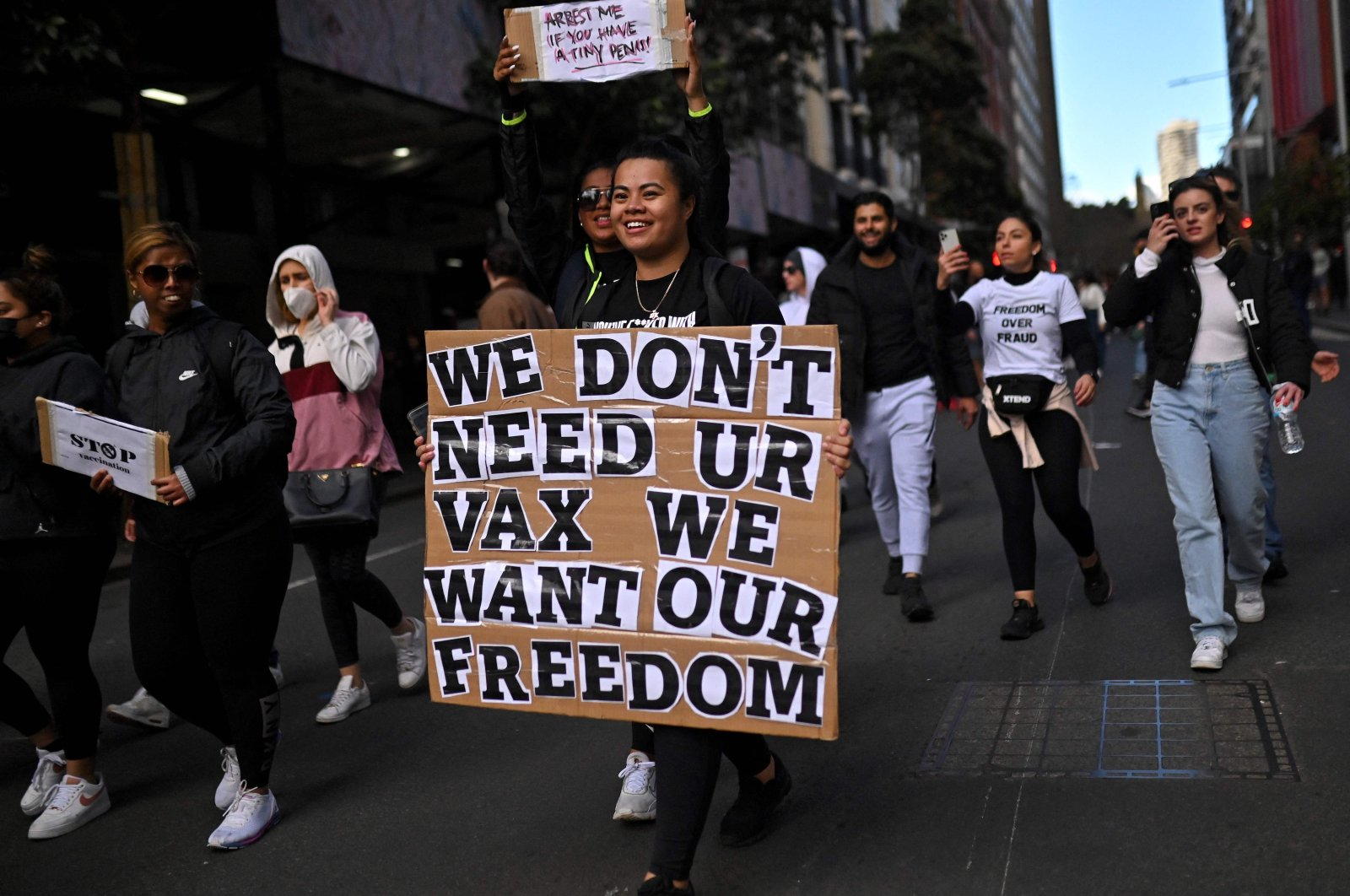 Hundreds of anti-lockdown protestors take to the streets during a rally in Sydney, Australia, July 24, 2021. (AFP Photo)