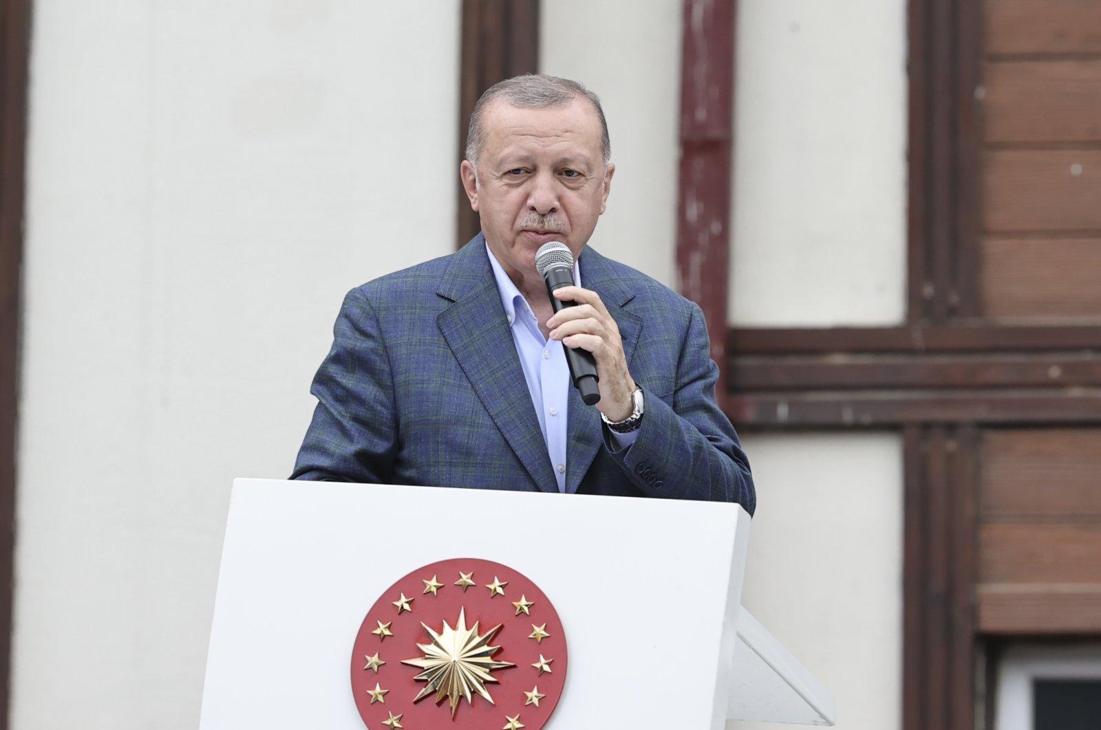 Turkey's President Recep Tayyip Erdoğan speaks during his visit to the flood-stricken northwestern province of Rize, Turkey, July 23, 2021. (AA Photo)
