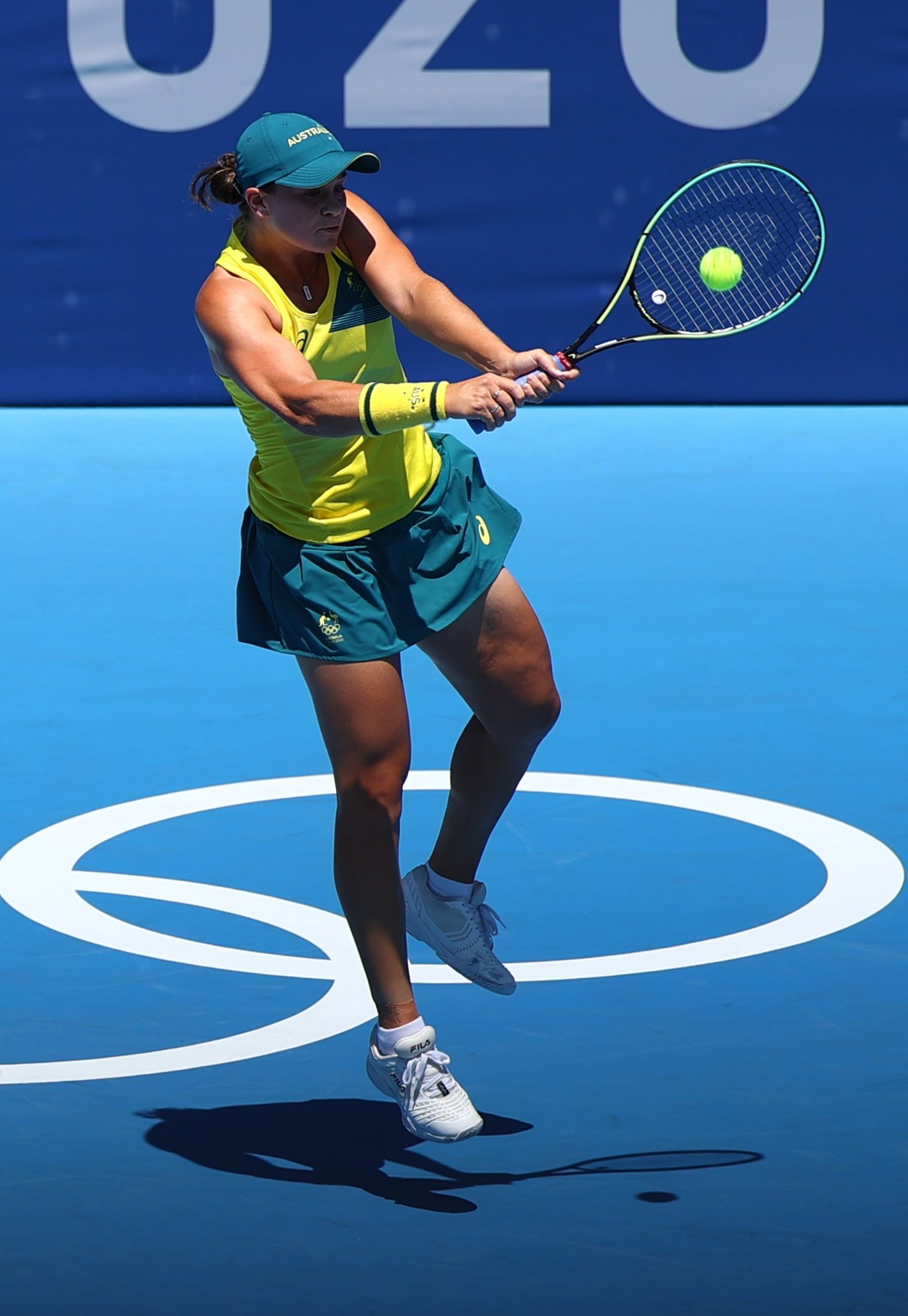 Australia's Ashleigh Barty in action during her Tokyo Olympics first-round match against Spain's Sara Sorribes, Ariake Tennis Park, Tokyo, Japan, July 25, 2021.