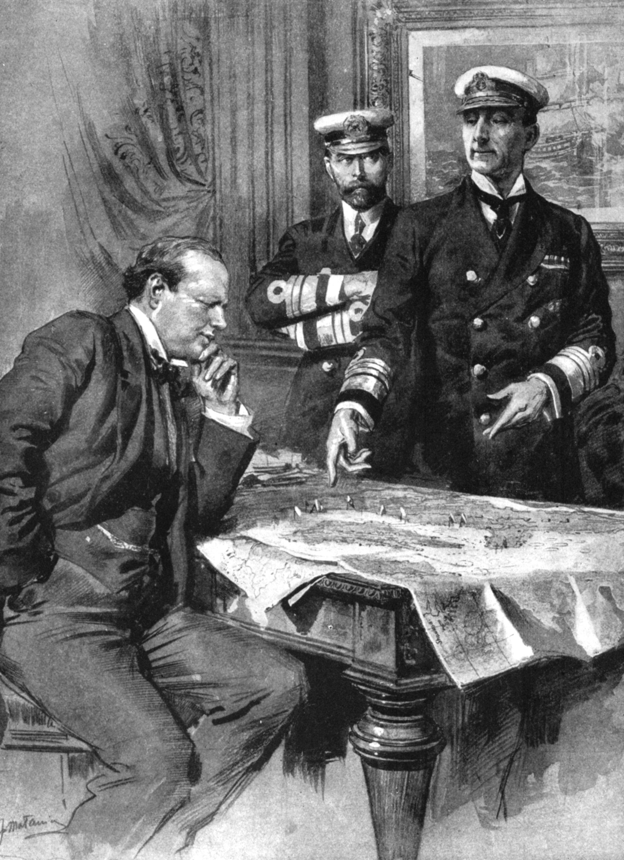 An illustration shows First Lord of the Admiralty Winston Churchill, Charles Madden, Commander-in-Chief of the Atlantic Fleet; Sir John Jellicoe, Commander of the Grand Fleet, during First World War, 1914. (Getty Images)