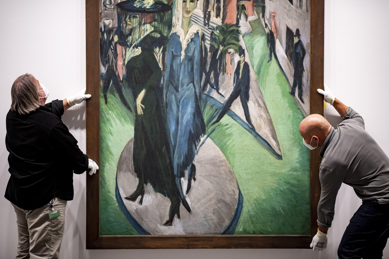 Ernst Ludwig Kirchner's'Potsdamer Platz' at Neue Nationalgalerie, Berlin, Germany. (DPA Photo)