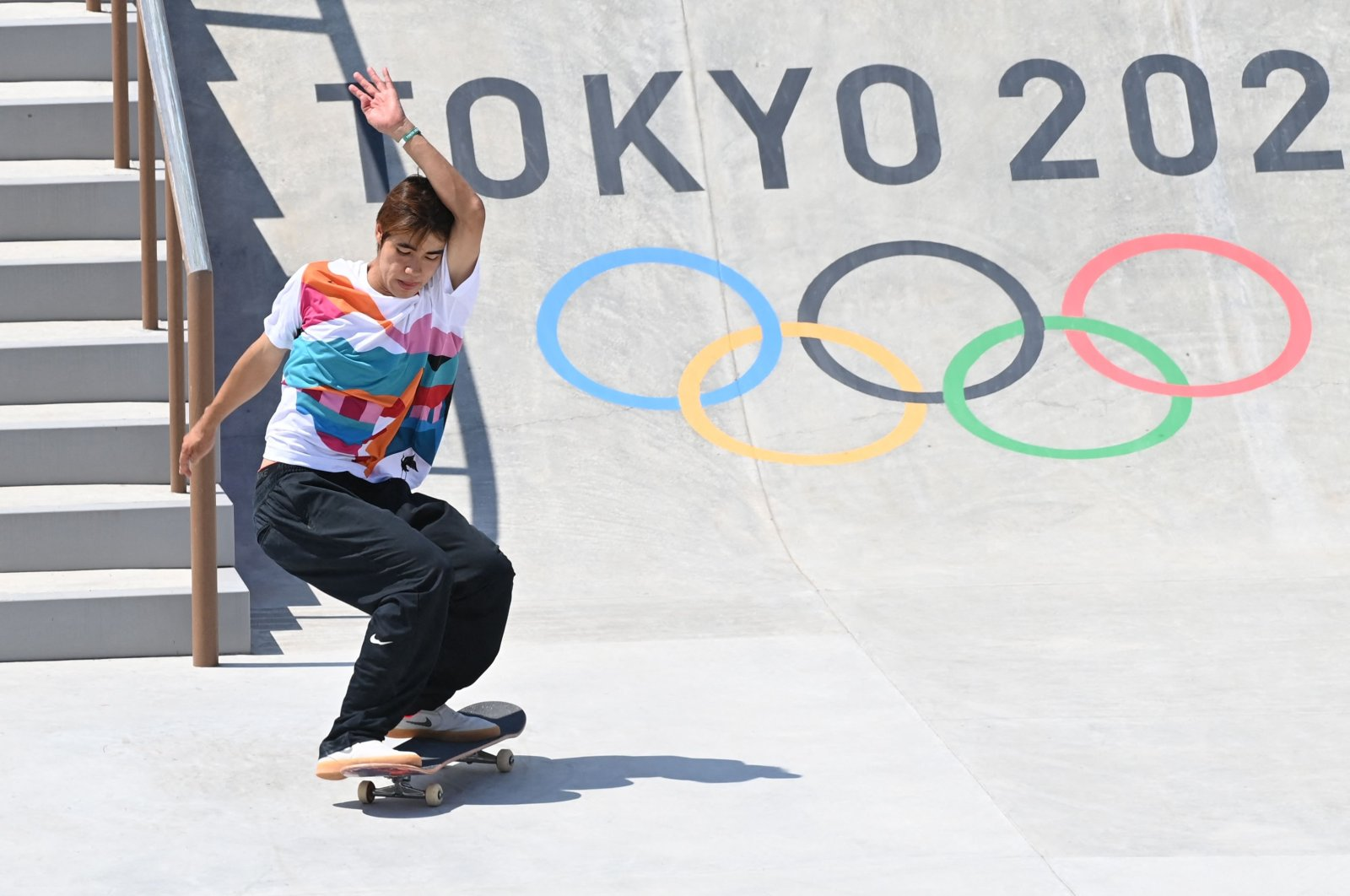 Japan's Yuto Horigome competes in the men's street final during the Tokyo 2020 Olympic Games at Ariake Sports Park Skateboarding in Tokyo, Japan, July 25, 2021. (AFP Photo)