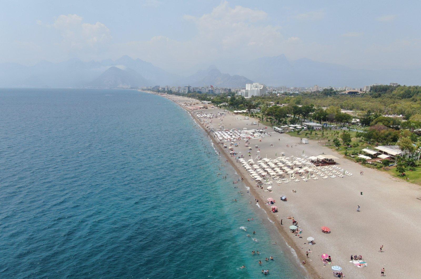 An aerial view of Konyaaltı beach in Antalya, southern Turkey, July 22, 2021. (IHA Photo)