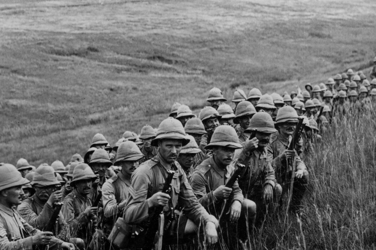 The reserves of the Allied forces wait for orders to move up to their new positions on the slopes of Cape Helles during the Gallipoli Campaign 1915-1916.