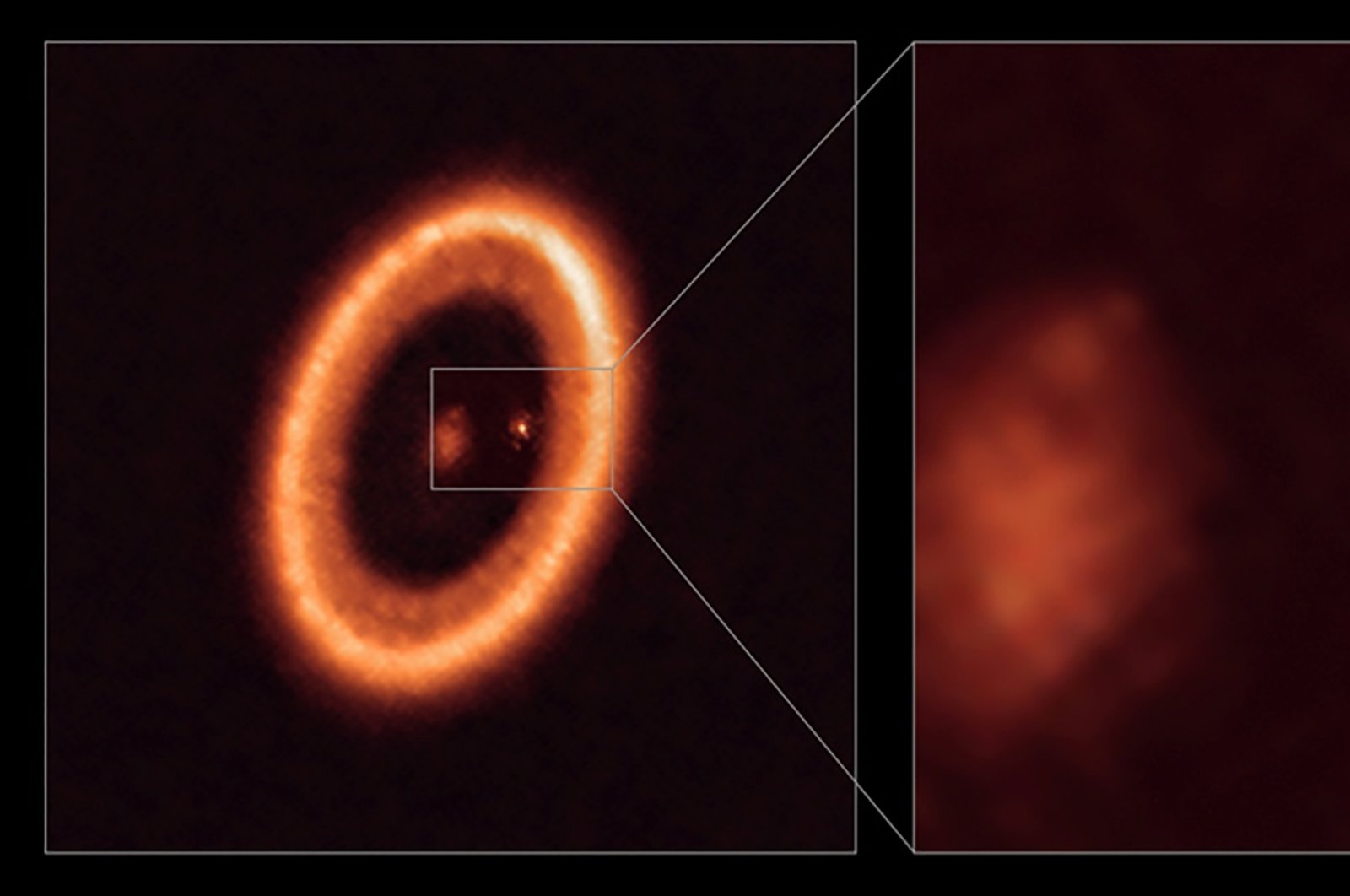 An undated image, taken with the Atacama Large Millimeter/submillimeter Array (ALMA), in which the European Southern Observatory is a partner, shows wide (L) and close-up views of the moon-forming disc surrounding PDS 70c, a young Jupiter-like planet nearly 400 light-years away. (Reuters Photo)