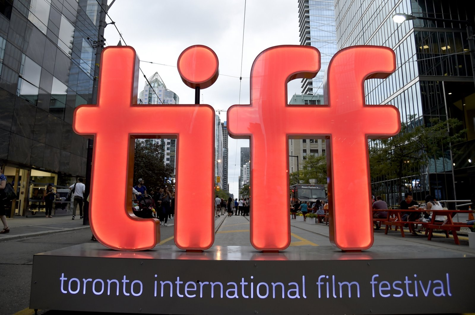 A view of a festival sign appears on Day 1 of the Toronto International Film Festival in Toronto, Canada, Sept. 6, 2018. (AP Photo)