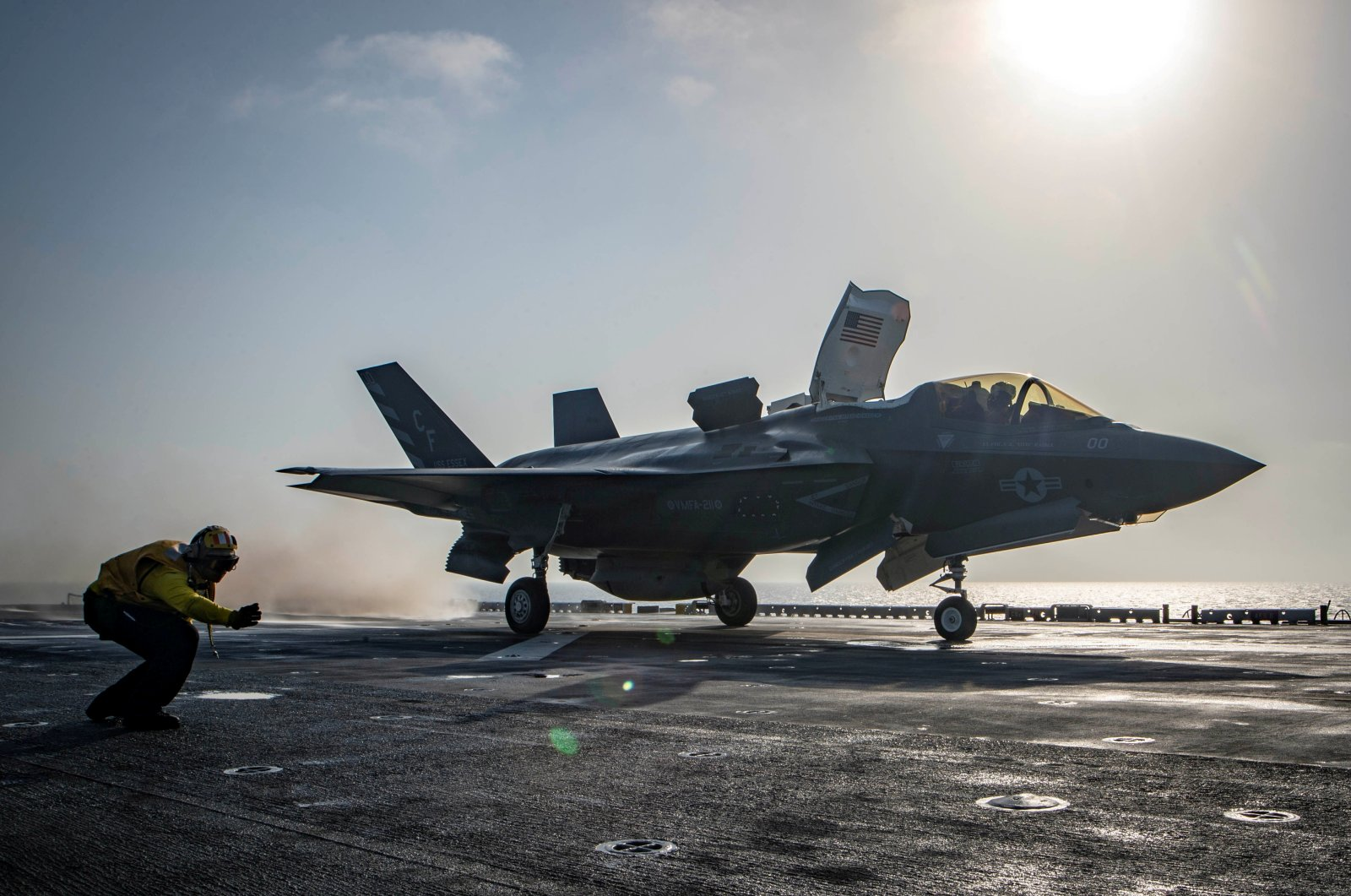 An F-35B Lightning II aircraft is launched aboard the amphibious assault ship USS Essex as part of the F-35B's first combat strike, against a Taliban target in Afghanistan, Sept. 27, 2018. (Reuters Photo)