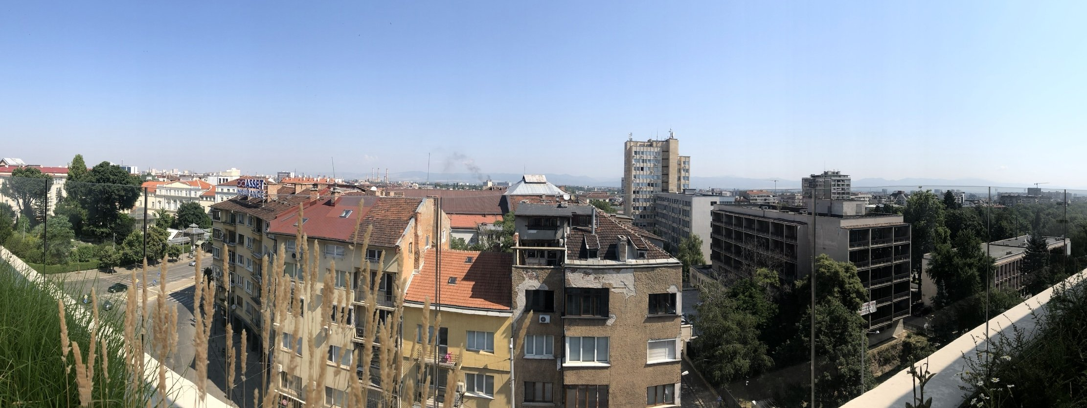 A panoramic view of Sofia from the top of Hyatt Regency Sofia, Bulgaria.