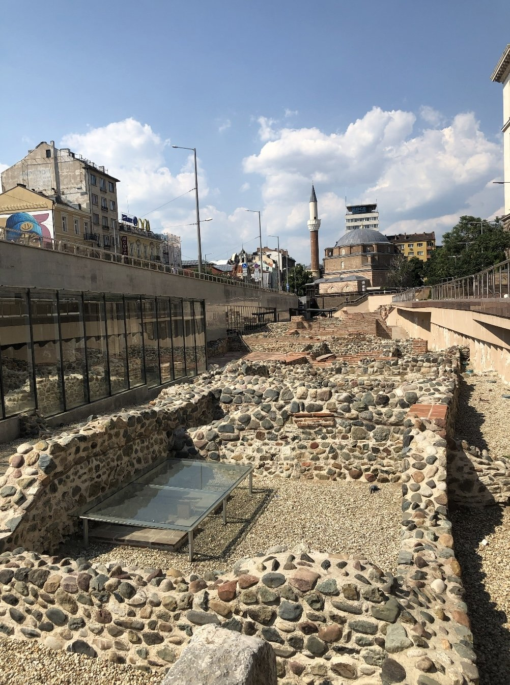 The ruins in Sofia's city center with the Banyabaşı Mosque in the background, Bulgaria.