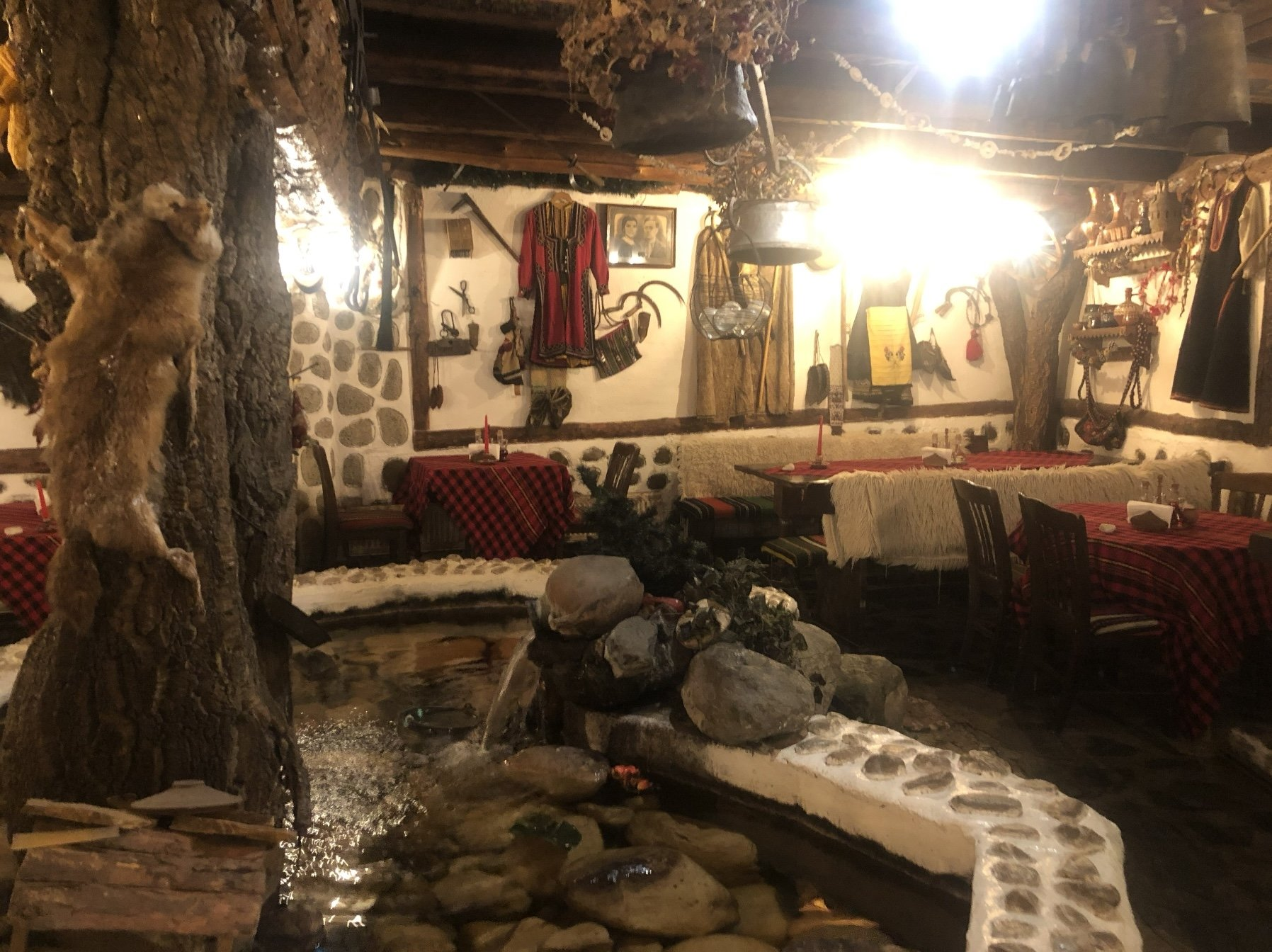The interior of a centuries-old restaurant at Bansko, Bulgaria.
