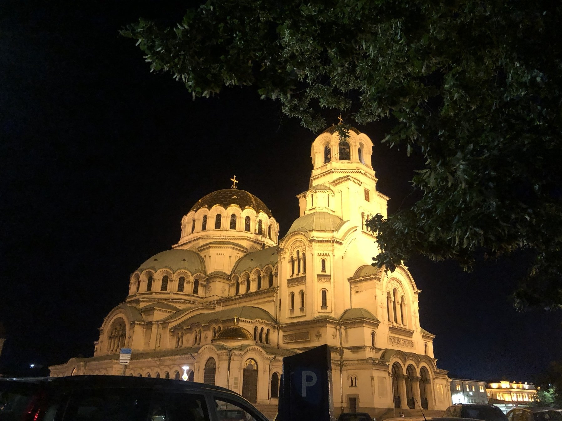 The Alexander Nevsky Cathedral at night, Sofia, Bulgaria.