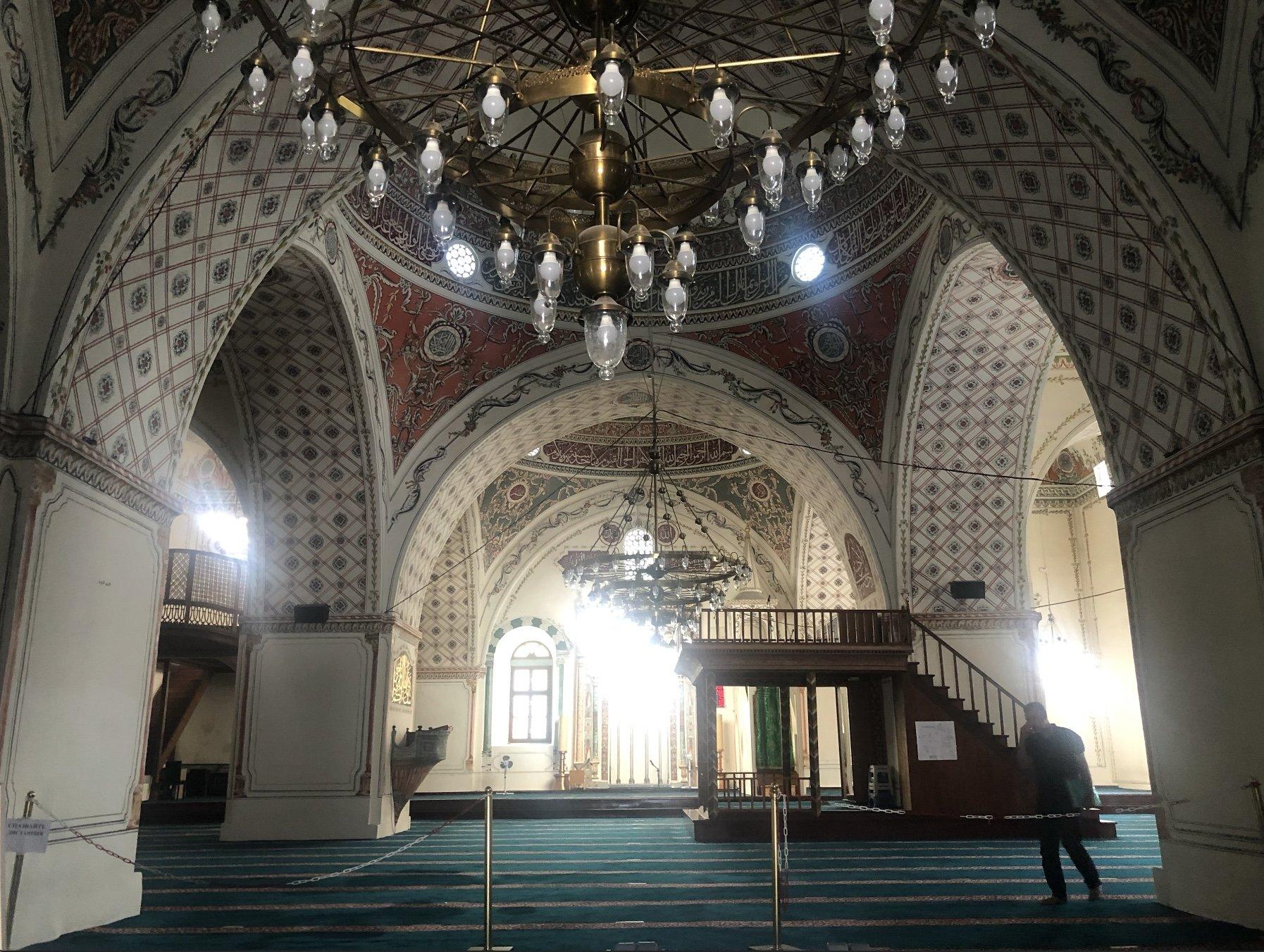 The interior of the Dzhumaya Mosque in Filibe, Bulgaria.