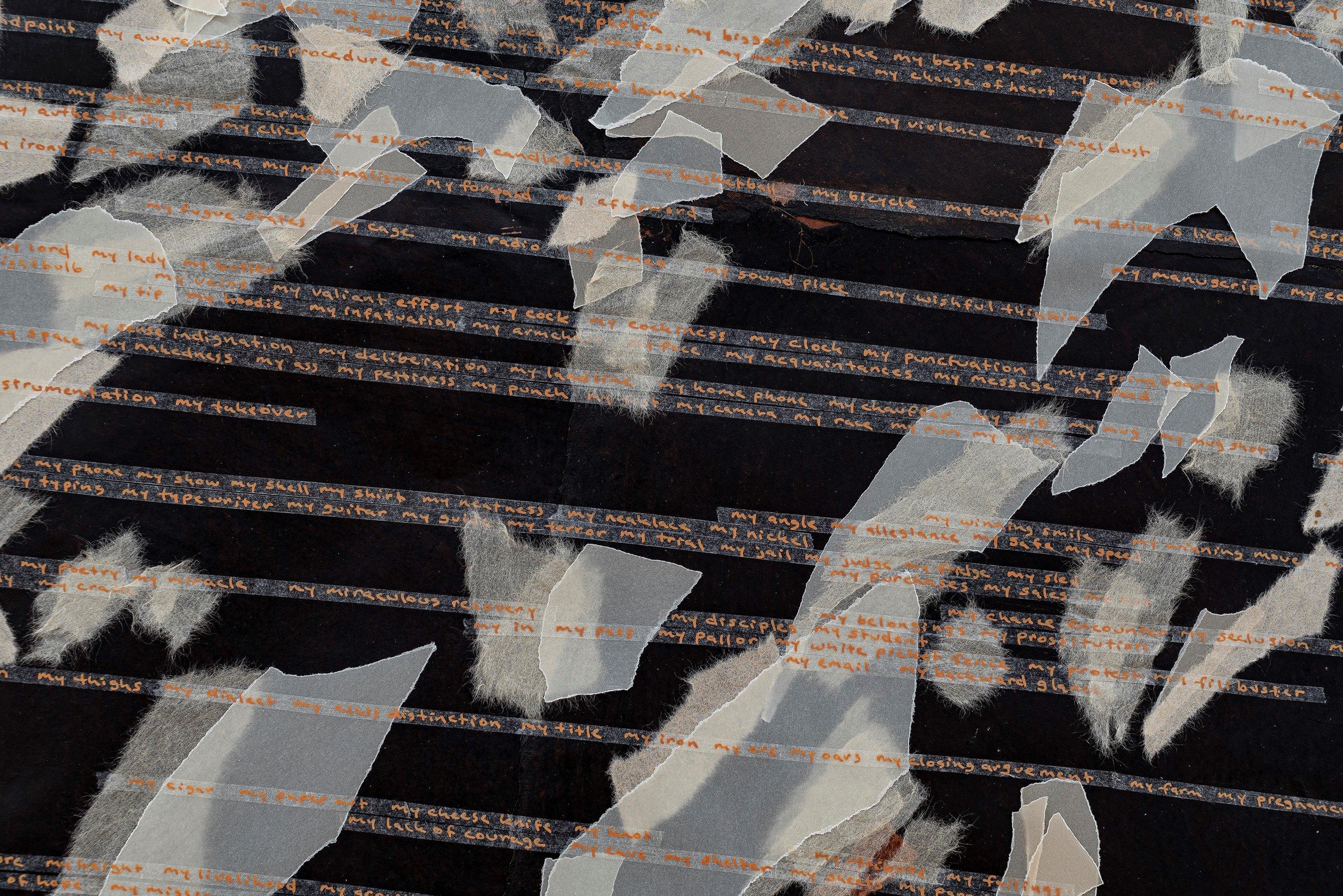 'mine,' 2014, ink on mending tape on hemp paper, vellum and handmade Japanese paper, 132 by 190 centimeters. (Courtesy of Arter)