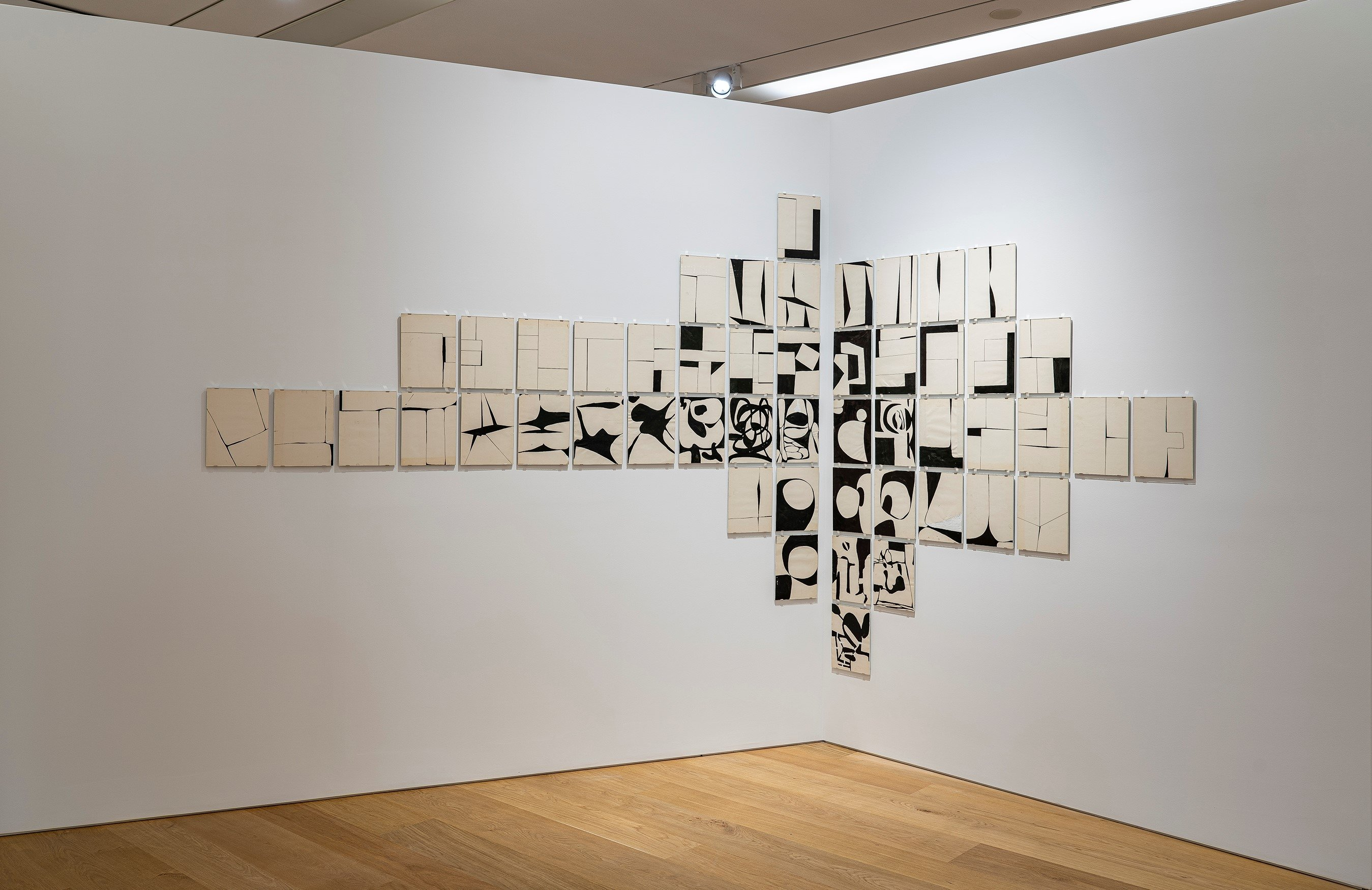 'Dividing Space on a White Piece of Paper,' sketches, 50 pieces, 30 by 22.5 centimeters. (Courtesy of Arter)