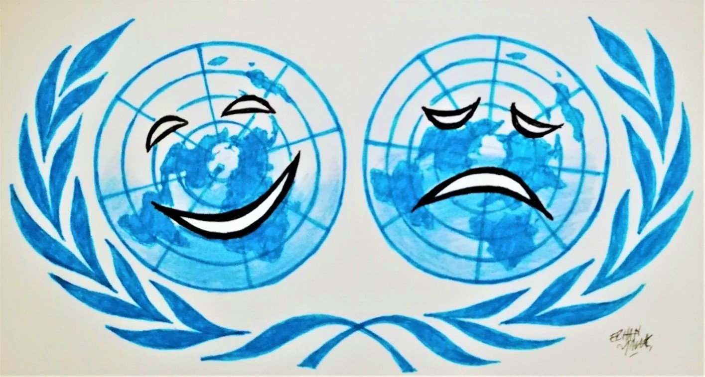 Illustration by Erhan Yalvaç satirizes the World Happiness Report ranking the countries' happiness rates.