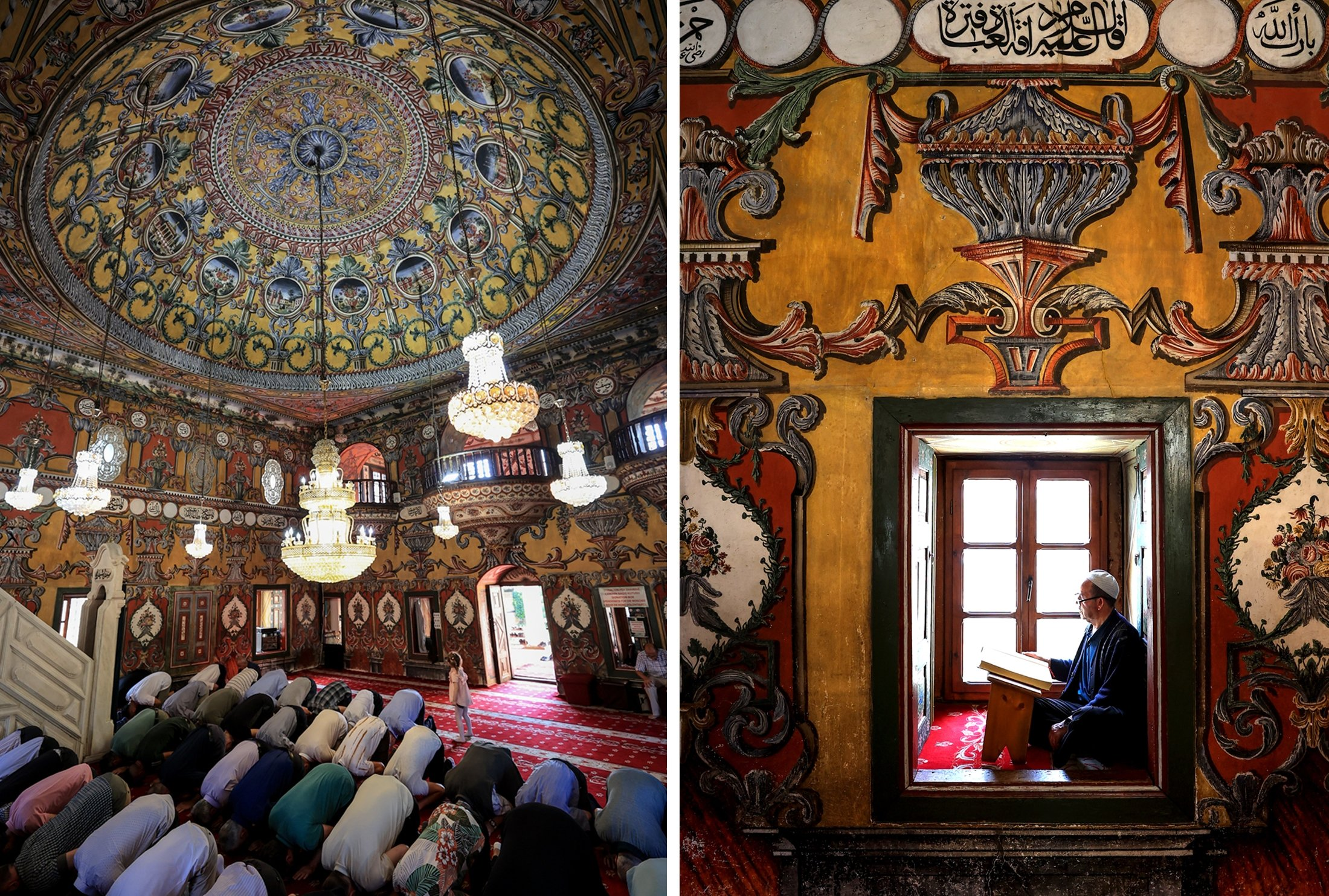 This photo combination shows people performing prayer and a person reciting Quran in Sarena Dzamija also known as 'Painted Mosque' or 'Pasha Mosque,' Tetovo, North Macedonia, July 25, 2021. (AA Photo)
