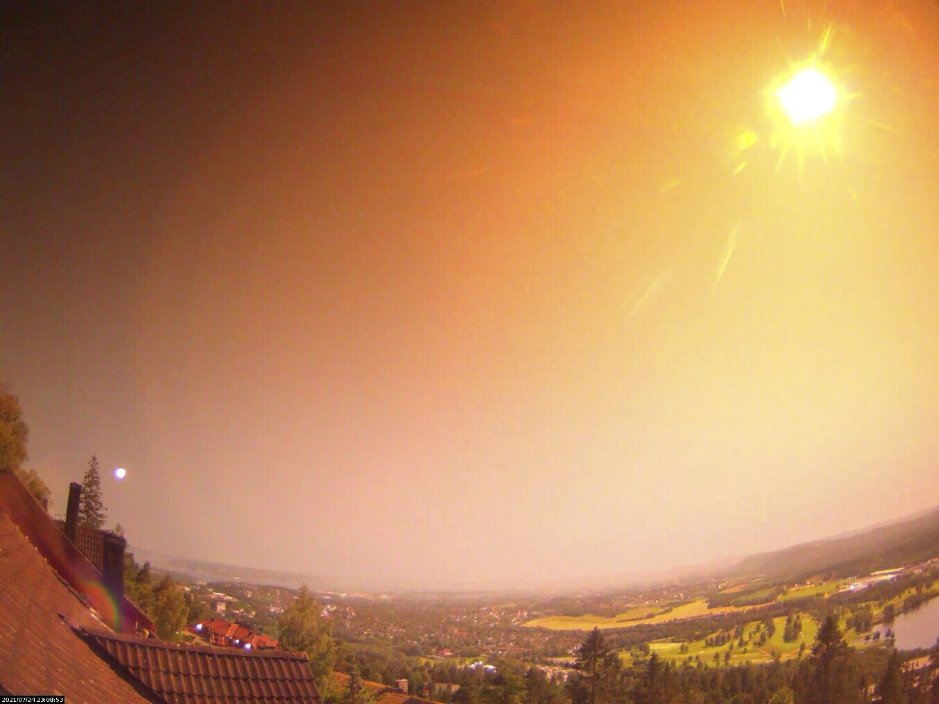A view of an unusually large meteor visible in Oslo, eastern Norway, on July 25, 2021. (Norwegian Meteor Network via AP)