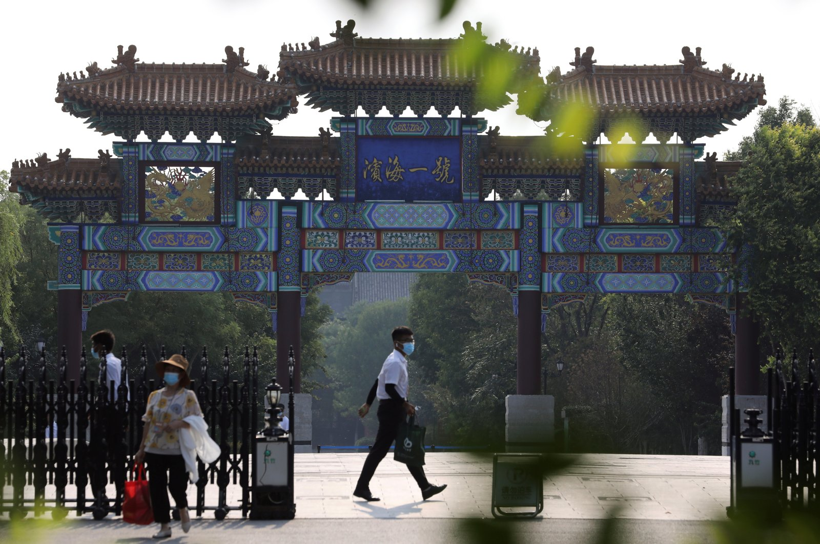 Security personnel are seen at an entrance to a hotel where U.S. Deputy Secretary of State Wendy Sherman is expected to meet Chinese officials, in Tianjin, China, July 25, 2021. (Reuters Photo)