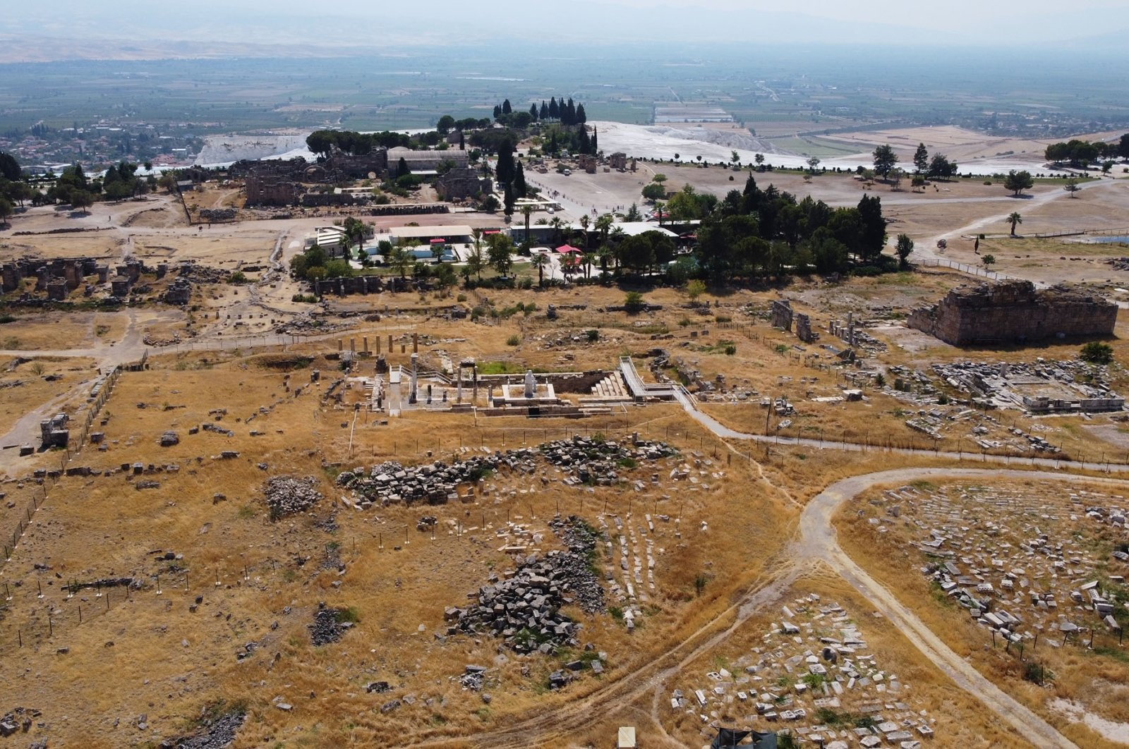 An aerial view shows the ancient city of Hierapolis inPamukkale, Denizli, Turkey, July 23, 2021. (AA Photo)