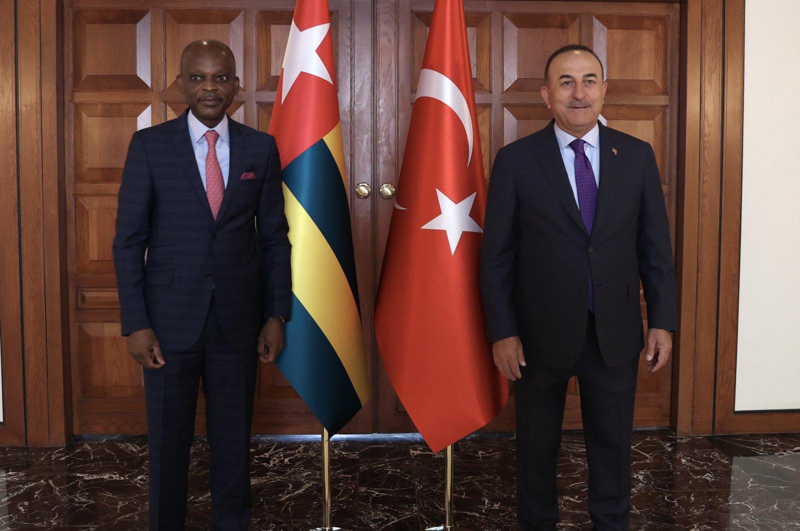 Foreign Minister Mevlüt Çavuşoğlu (R) and his Togolese counterpart Robert Dussey in the Turkish capital Ankara, July 26, 2021. (AA Photo)