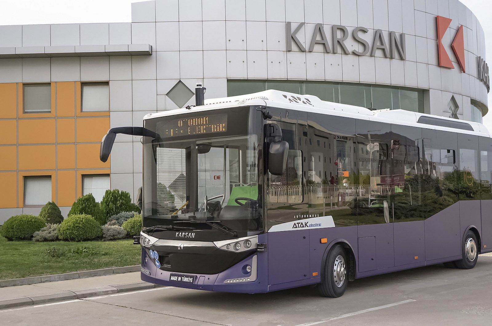 A Karsan electric bus seen in front of company facility in Bursa, northwestern Turkey, June 8, 2021. (Courtesy of Karsan)
