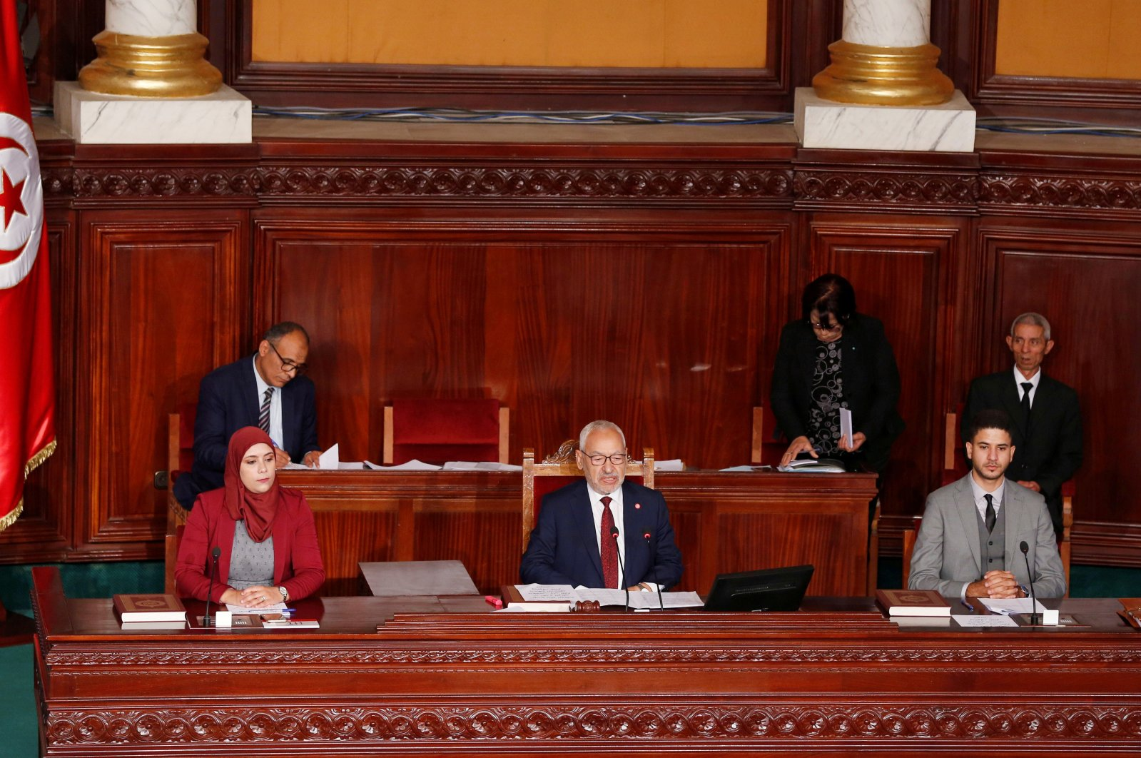 Rached Ghannouchi, leader of Tunisia's moderate Islamist Ennahda party, attends Tunisia's new parliament first session to elect a speaker, in Tunis, Tunisia November 13, 2019. (Reuters Photo)