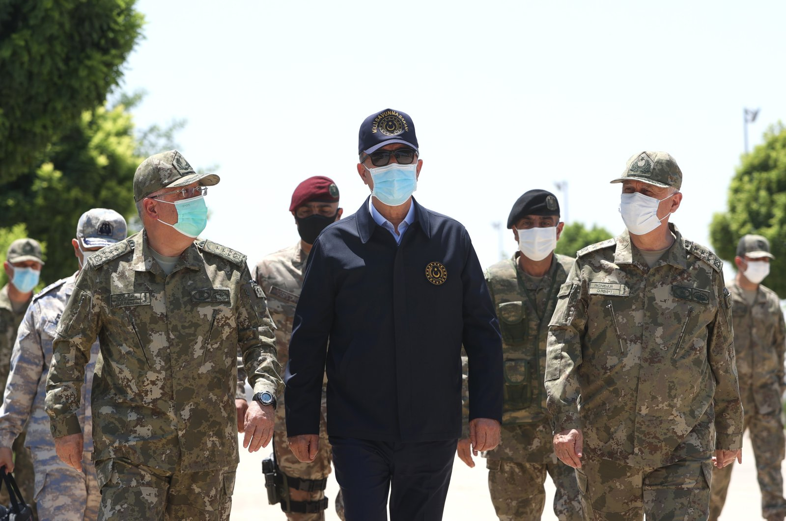 Defense Minister Hulusi Akar inspects Turkish troops in northern Syria, July 26, 2021. (AA Photo)