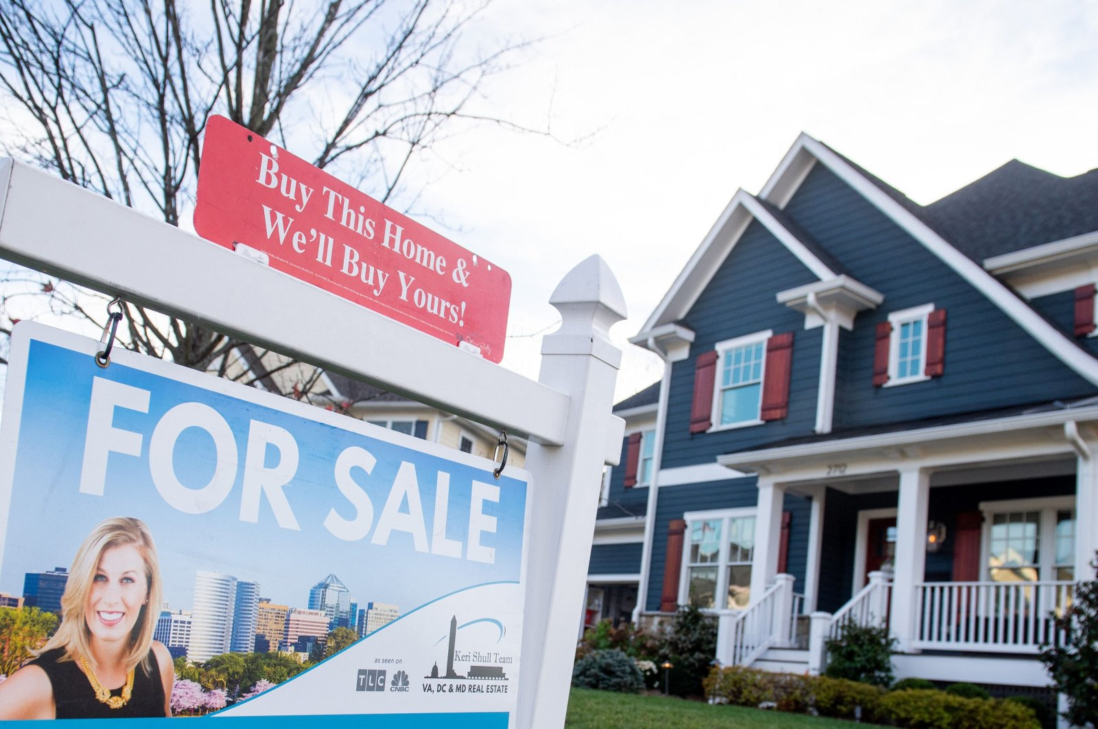 A house for sale in Arlington, Virginia, United States, Nov. 21, 2020. (AFP Photo)