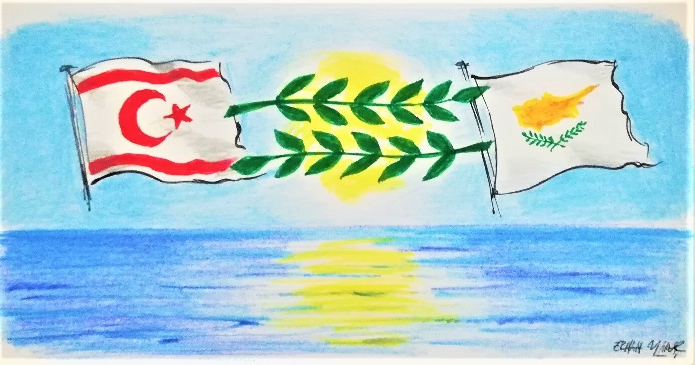 Illustration by Erhan Yalvaç on the Cyprus peace talks shows the flags of the Turkish Republic of Northern Cyprus (TRNC) (L) and Greek Cypriots.