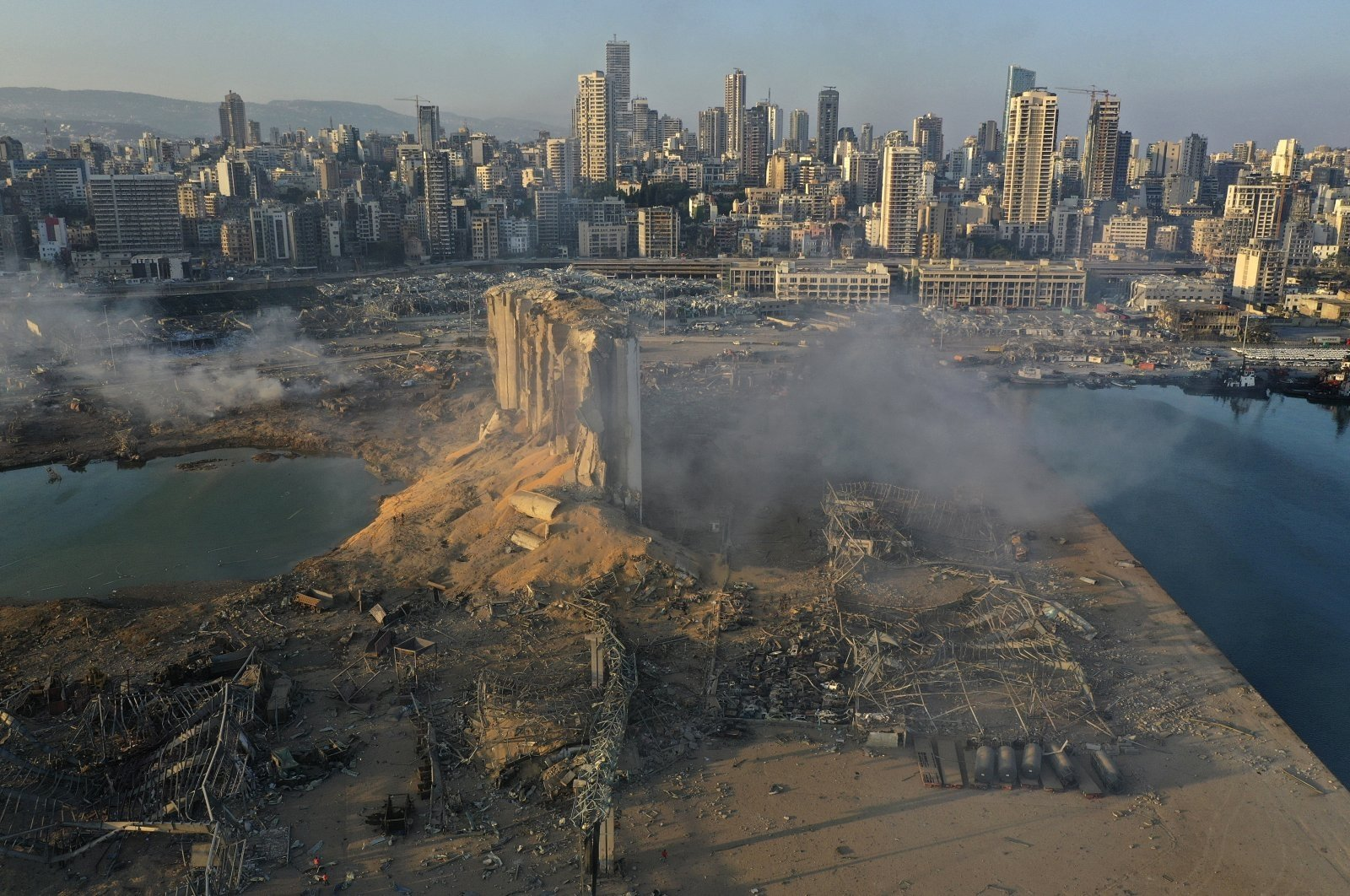 A drone photo shows the destruction after last year's explosion at the Port of Beirut, Lebanon, Aug. 5, 2020. (AP Photo)