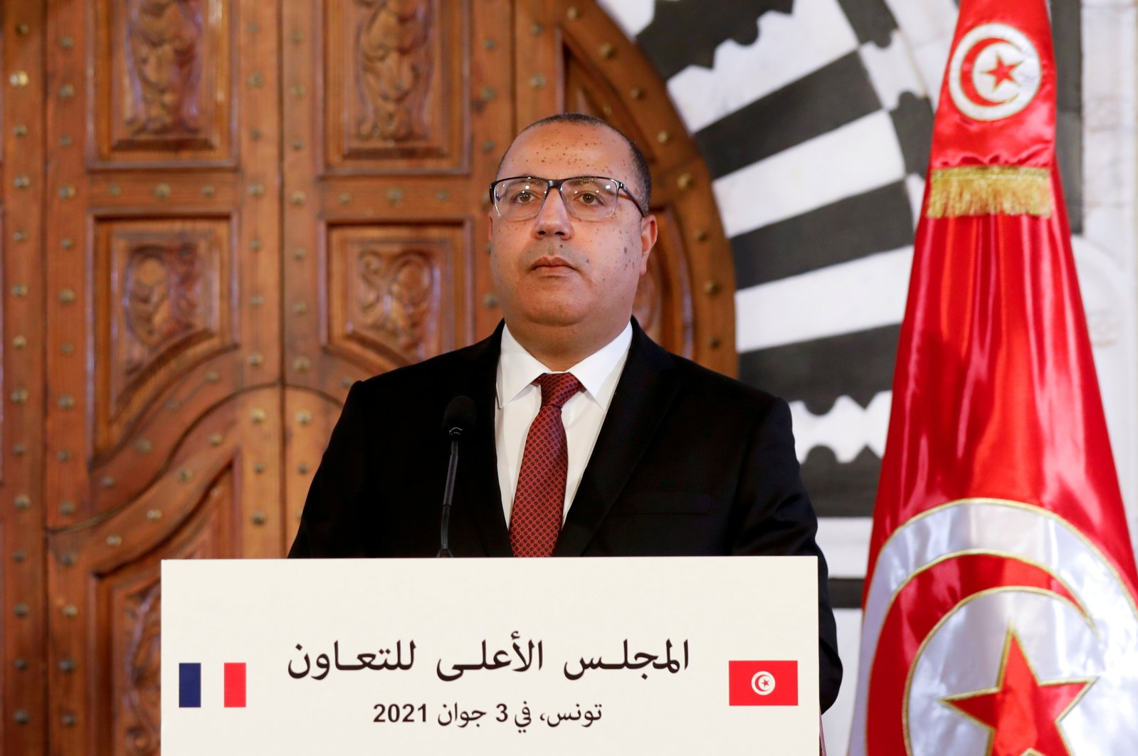 Tunisian Prime Minister Hichem Mechichi appears at a news conference in Tunis, Tunisia, on June 3, 2021. (Reuters Photo)