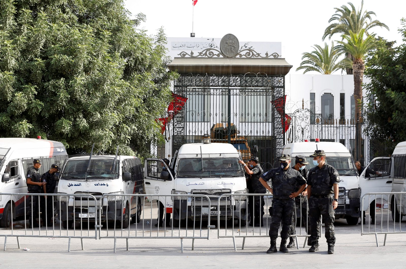 Police officers stand guard outside the parliament building in Tunis, Tunisia, July 27, 2021. (Reuters Photo)