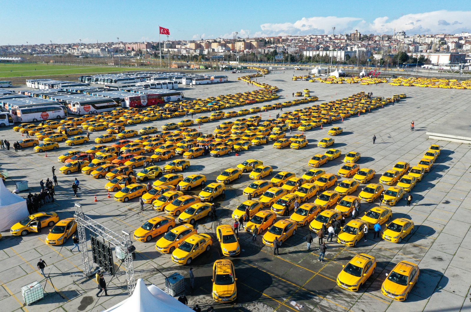 Taxis at a square in Yenikapı district, in Istanbul, Turkey, Jan. 2, 2021. (AA PHOTO)