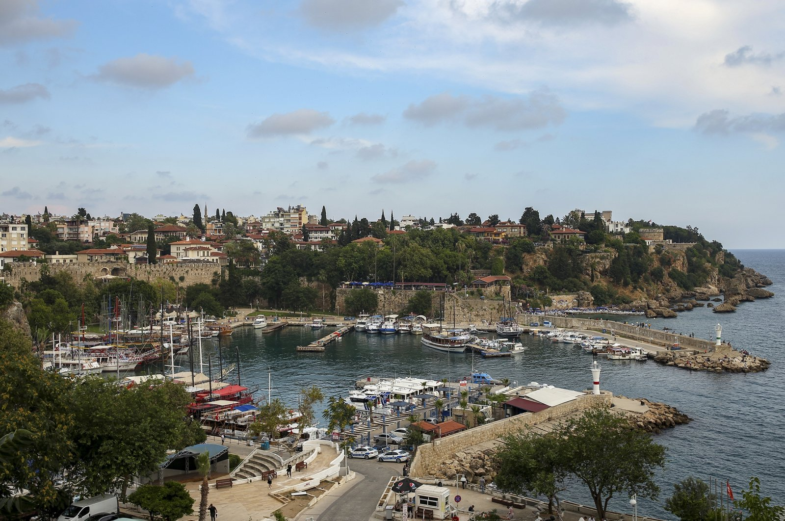 A general view of the old harbor, in Antalya, southern Turkey, Monday, June 21, 2021. (AP Photo)